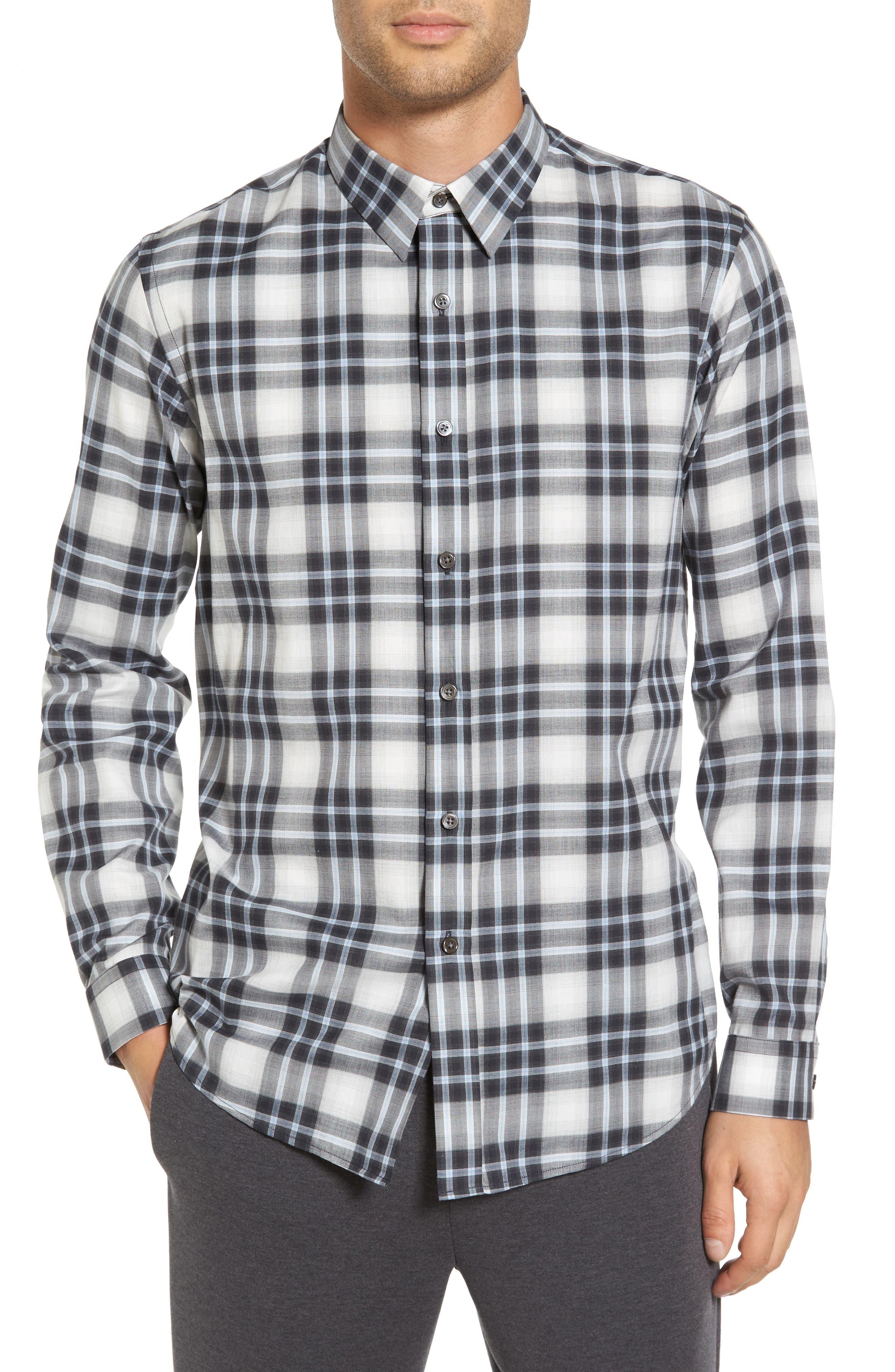 Trim Fit Plaid Sport Shirt,                         Main,                         color, Larkspur Blue