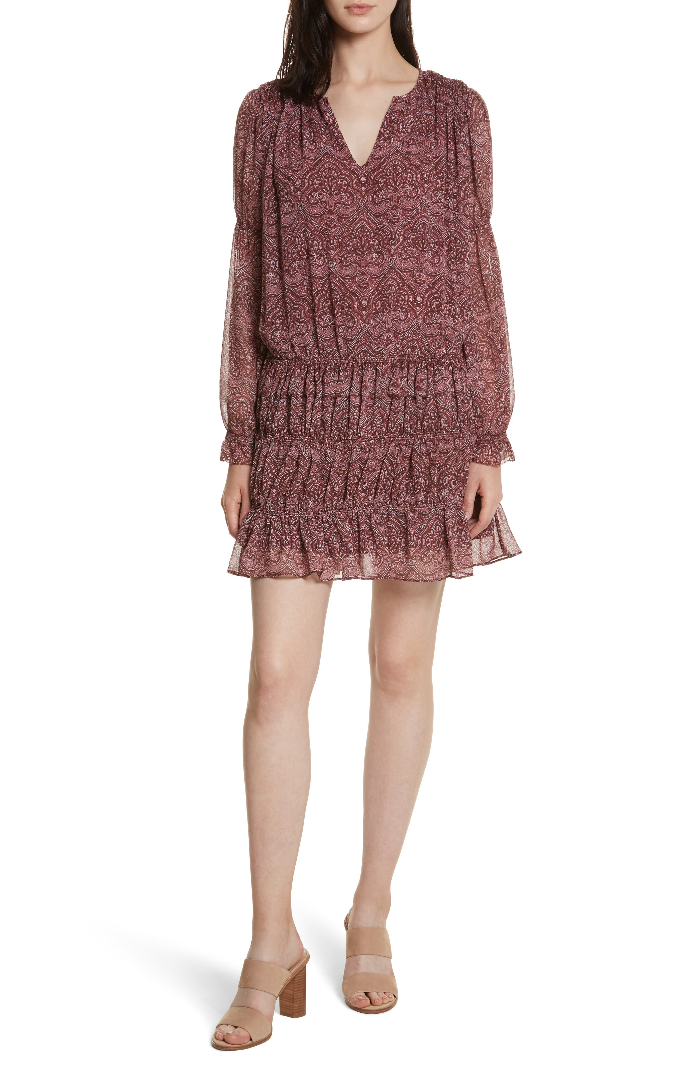 Snow Drop-Waist Silk Dress,                         Main,                         color, Port Wine