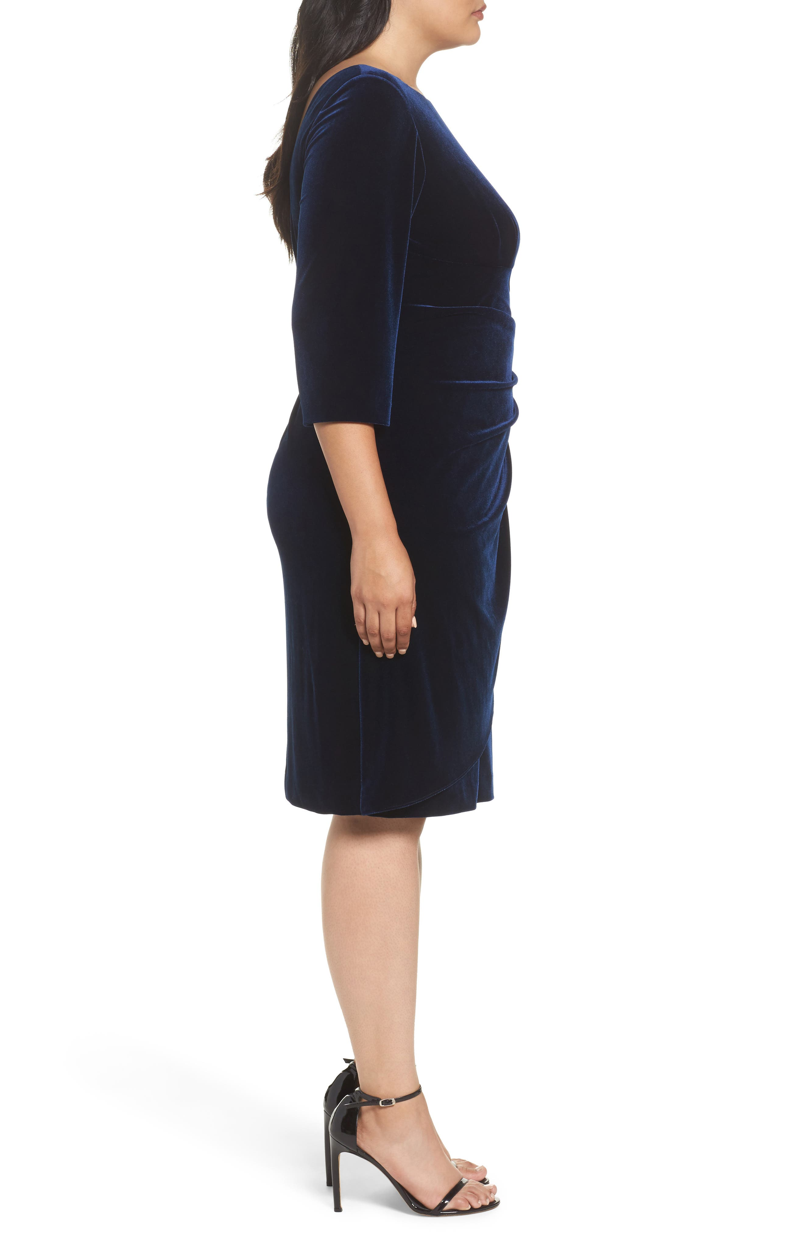 Alternate Image 3  - Alex Evenings Embellished Faux Wrap Velvet Dress (Plus Size)