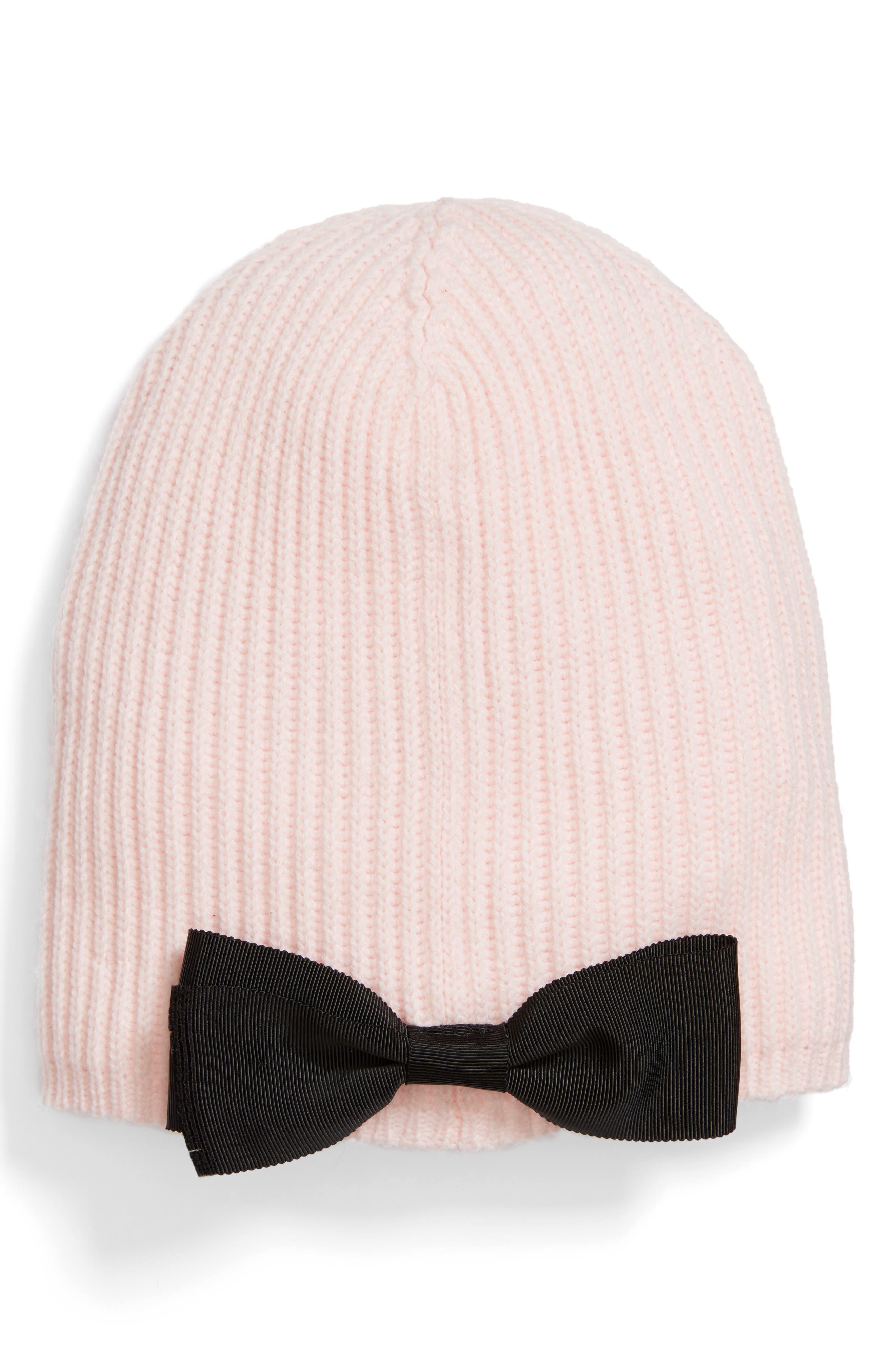 grosgrain bow knit beanie,                             Main thumbnail 1, color,                             Rose Dew