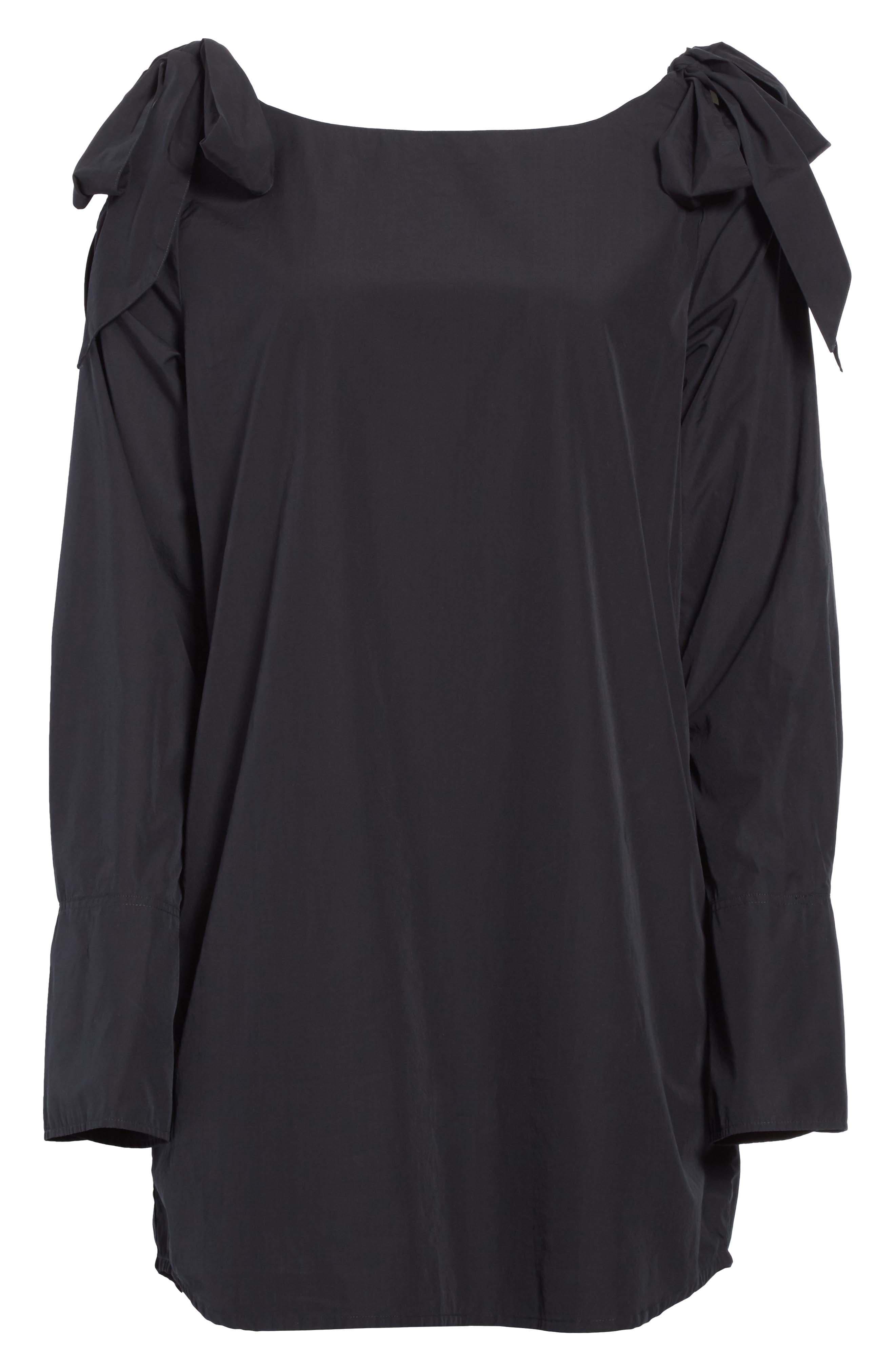 Bow Cold Shoulder Dress,                             Alternate thumbnail 6, color,                             Noir