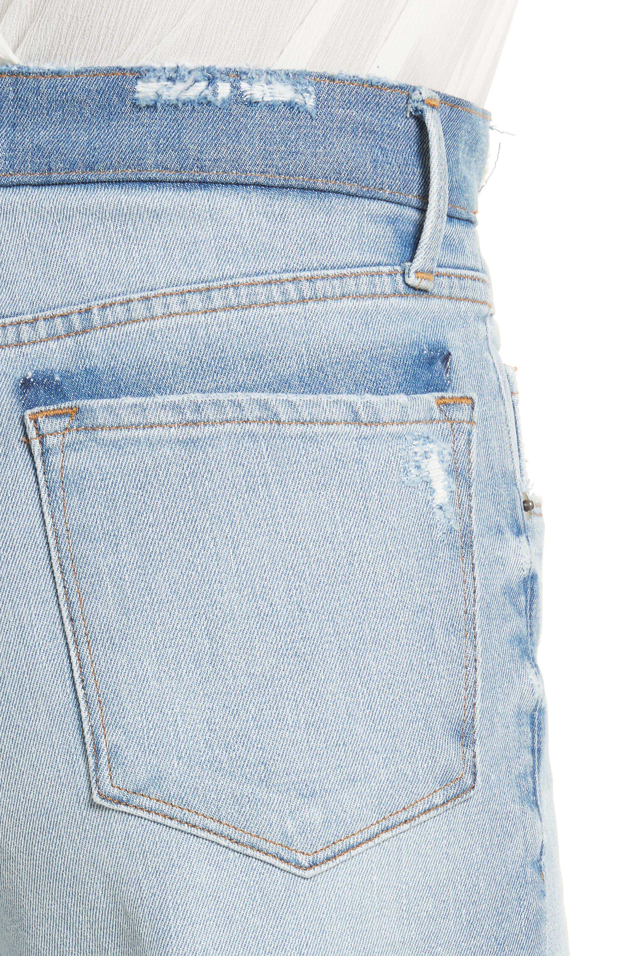 Le Reconstructed High Waist Crop Wide Leg Jeans,                             Alternate thumbnail 5, color,                             Blue