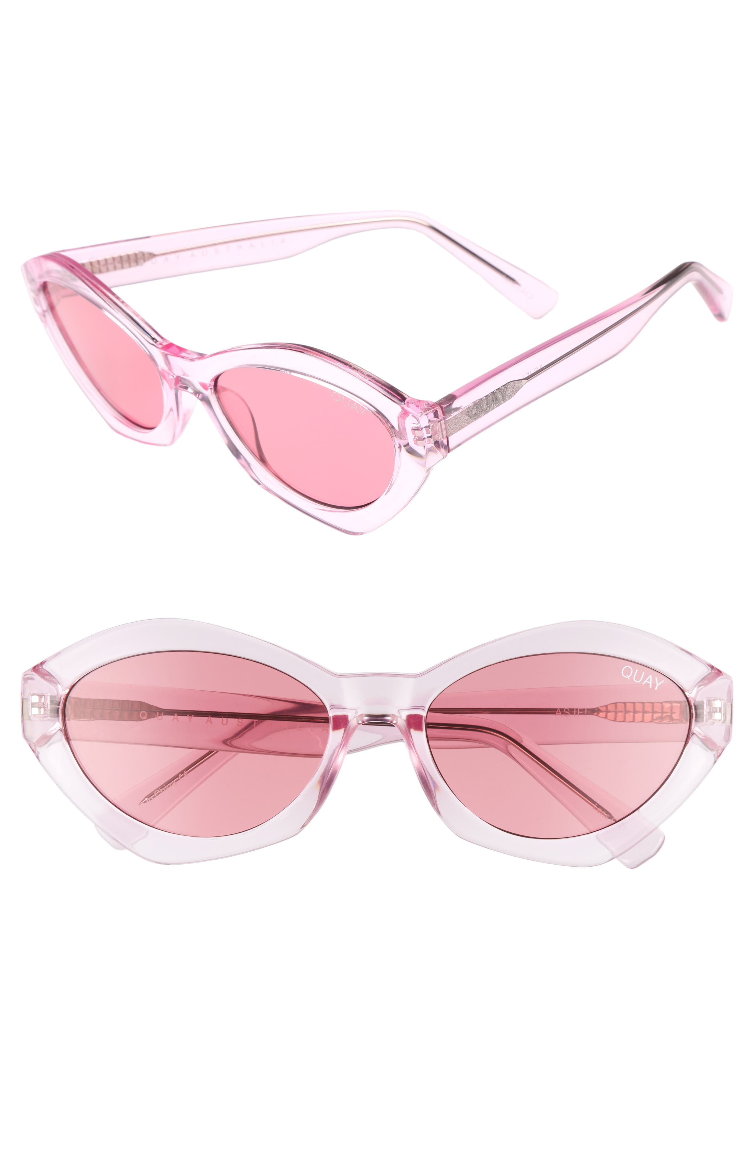 54mm As If Oval Sunglasses,                             Main thumbnail 1, color,                             Pink/ Pink
