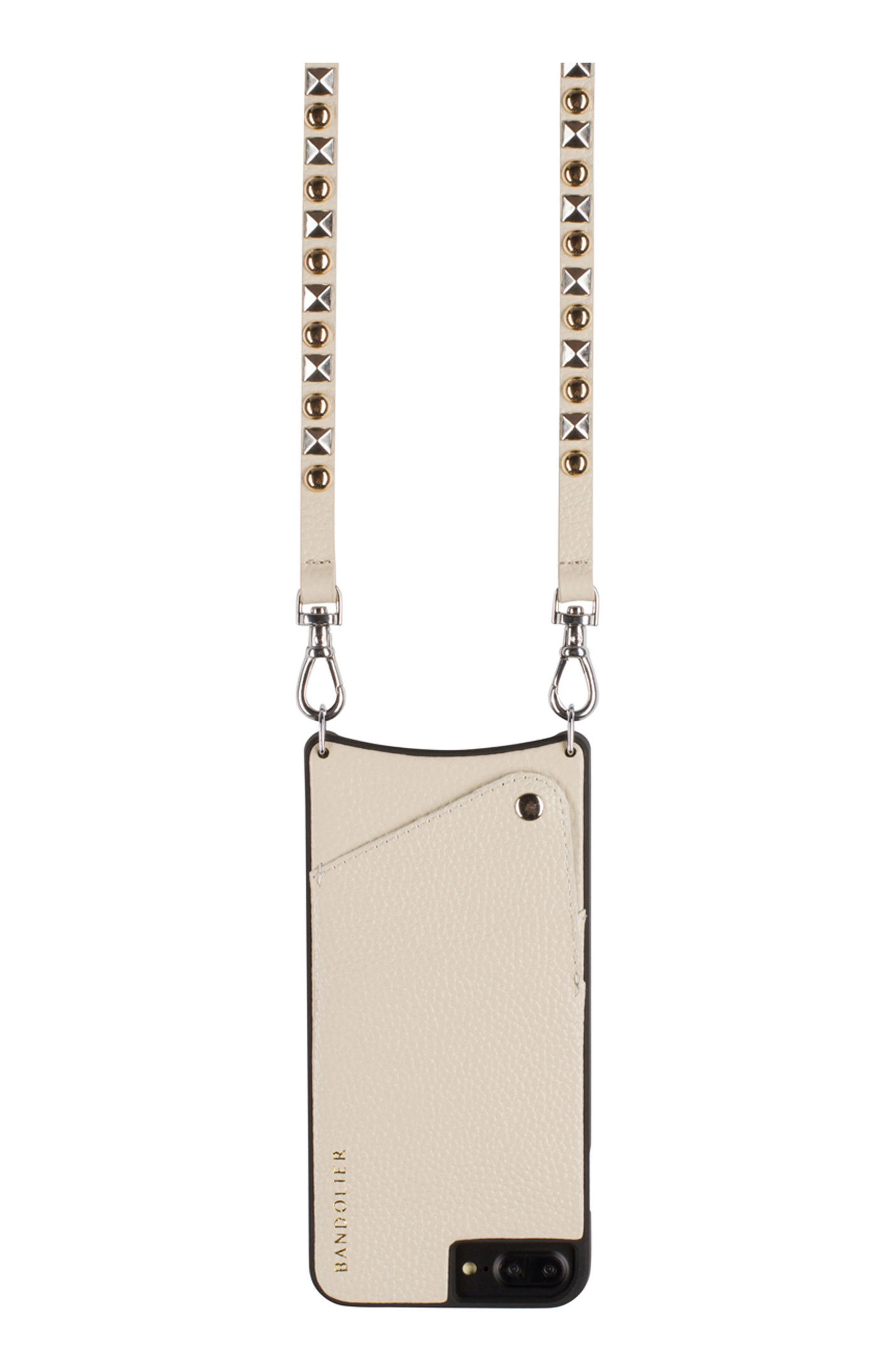 Stella iPhone 6/7/8 & 6/7/8 Plus Leather Crossbody Case,                             Alternate thumbnail 4, color,                             Pebble/ Gold/ Silver