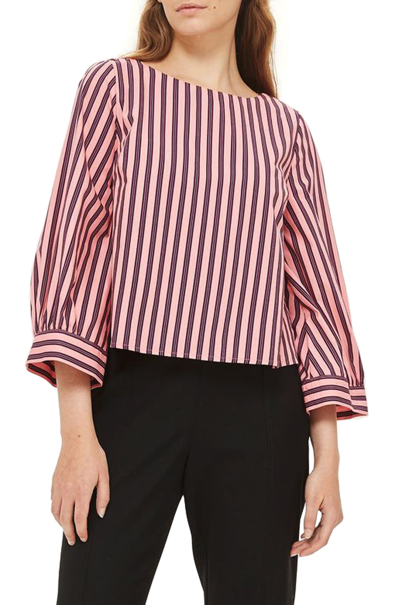 Main Image - Topshop Stripe Wide Sleeve Top