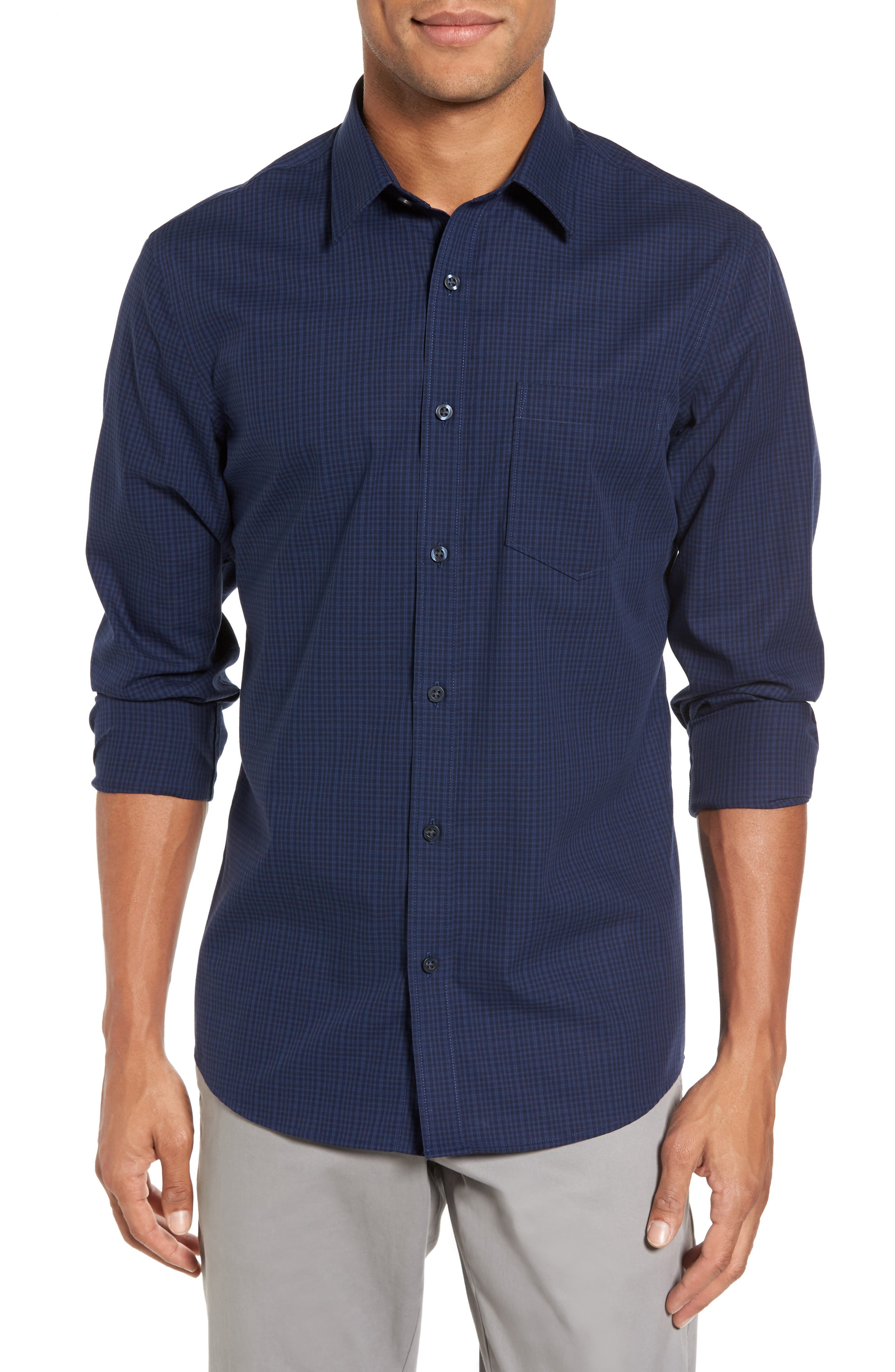 Trim Fit Non-Iron Mini Check Sport Shirt,                         Main,                         color, Navy Iris Blue Mini Check