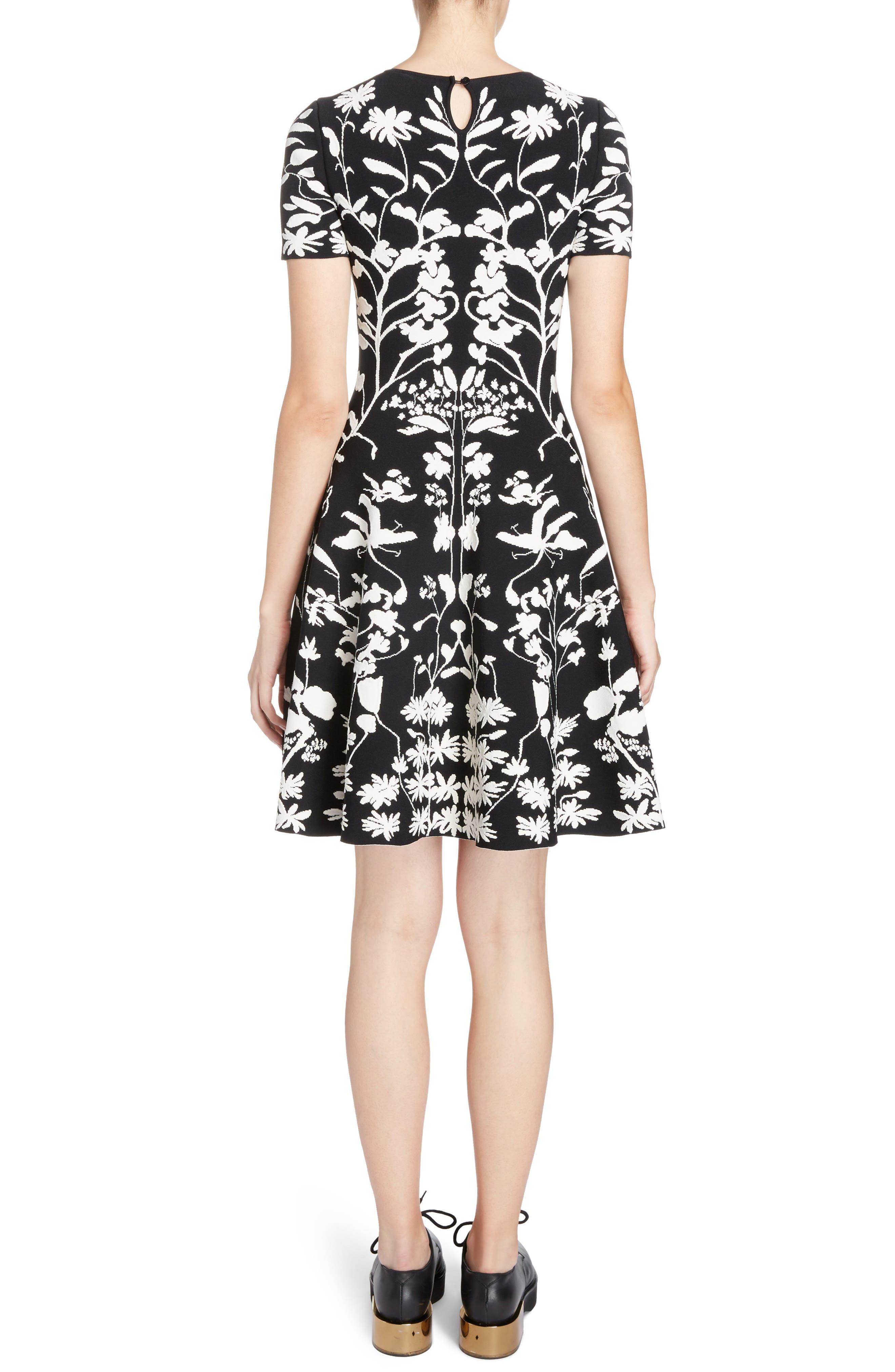 Botanical Jacquard Knit Flounce Dress,                             Alternate thumbnail 2, color,                             Black/ Ivory