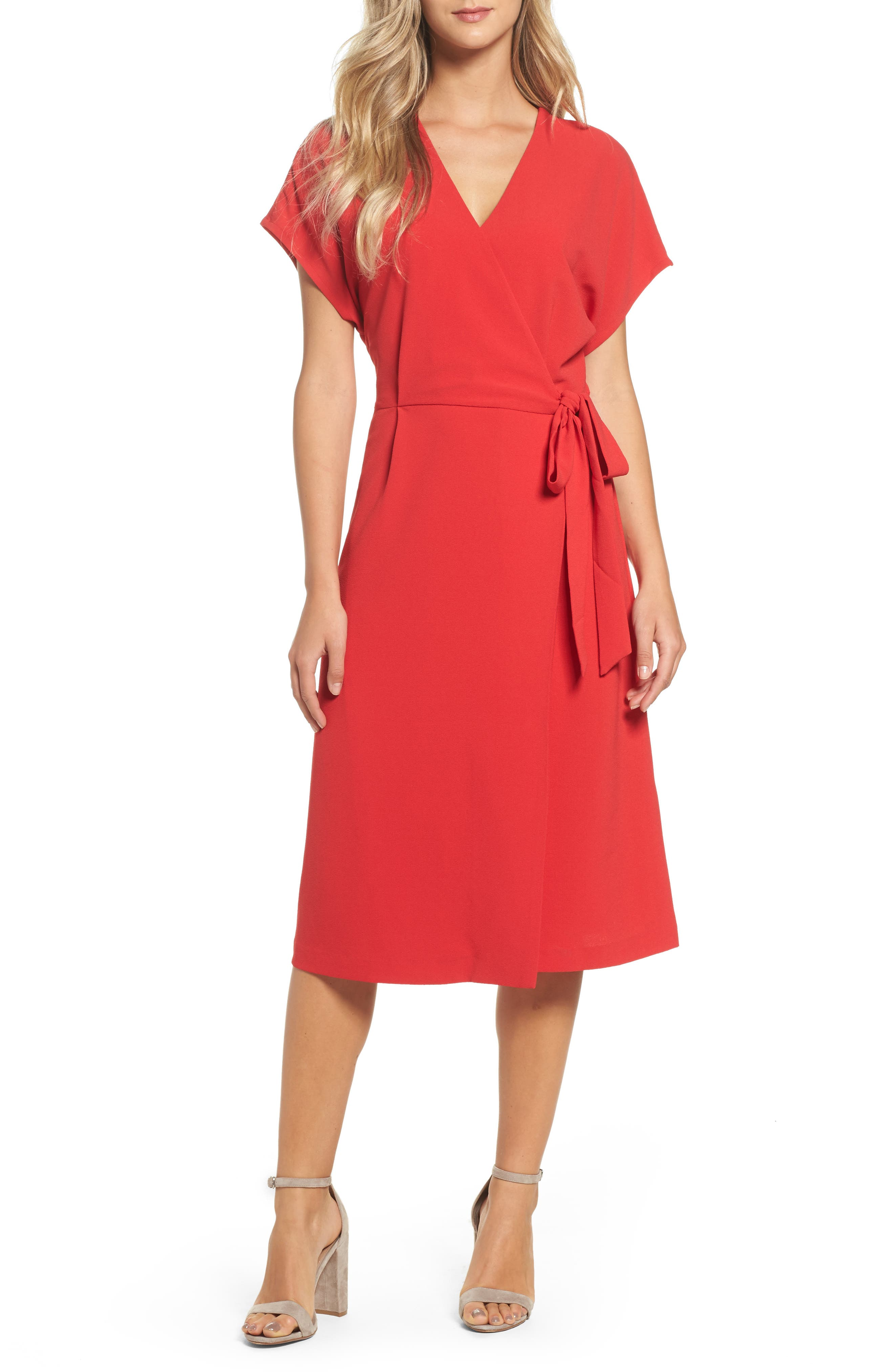 Rita Wrap Dress,                             Main thumbnail 1, color,                             Red