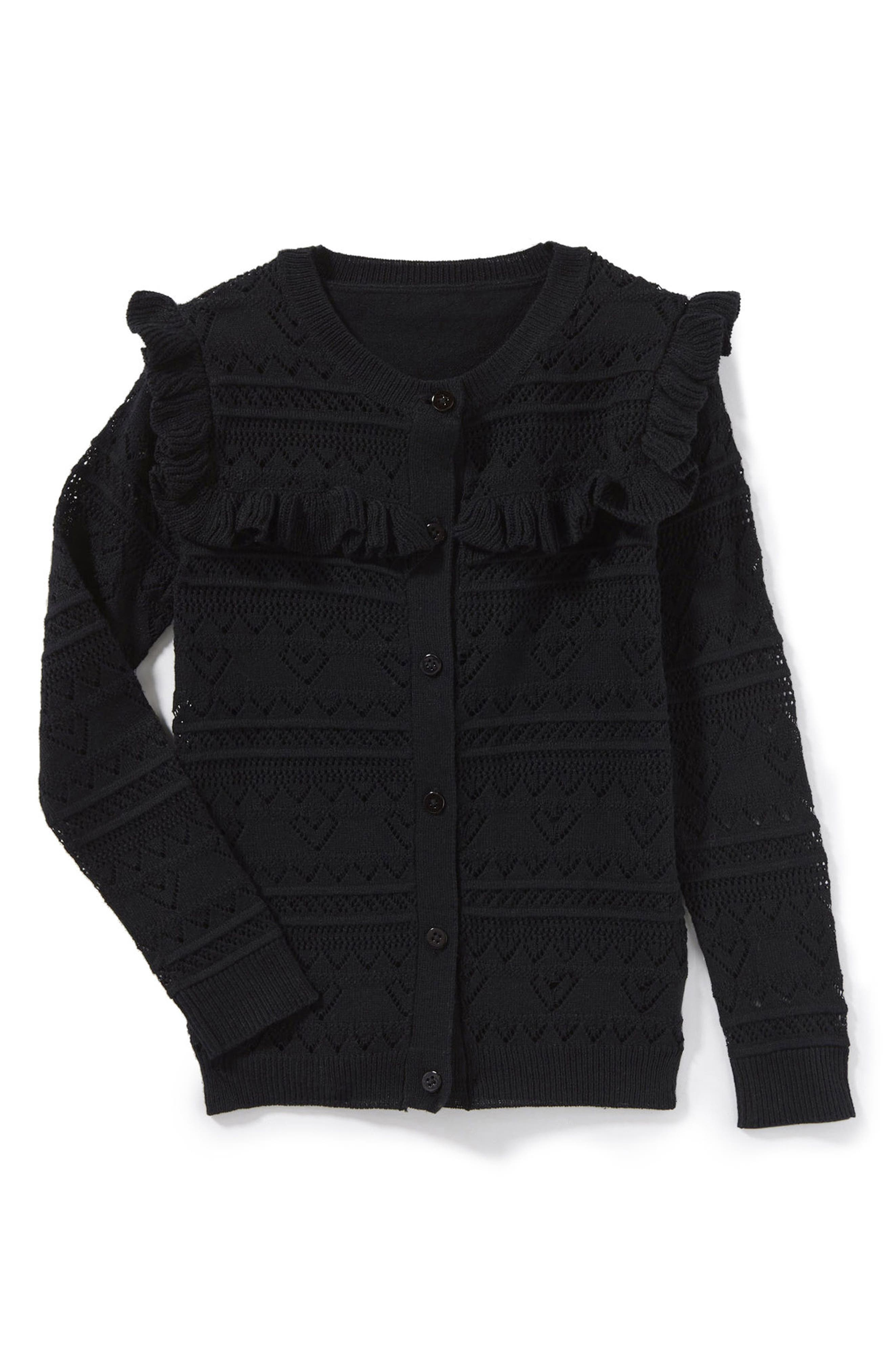 Cecile Ruffle Pointelle Cardigan,                             Main thumbnail 1, color,                             Black