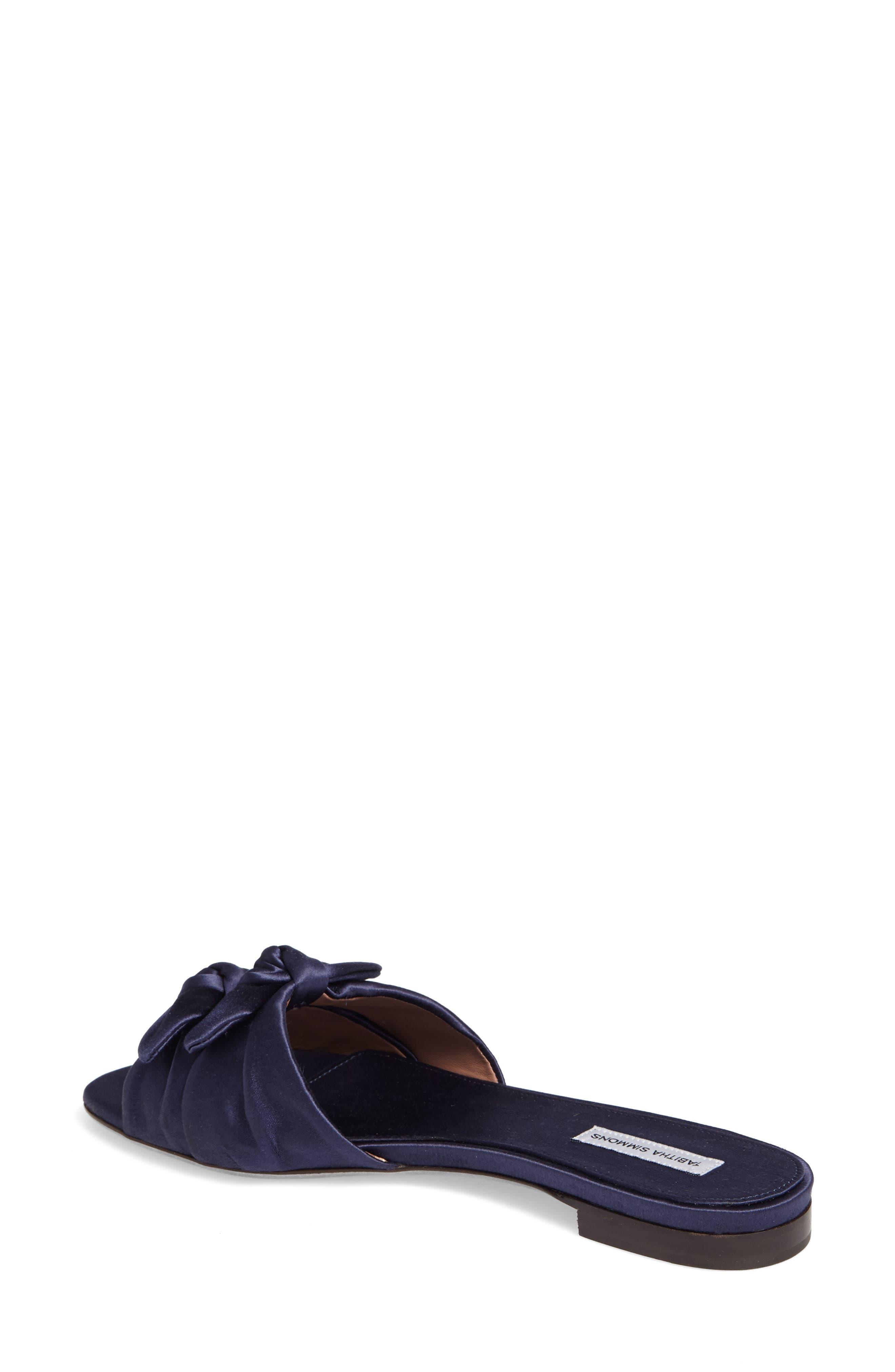 Cleo Knotted Bow Slide Sandal,                             Alternate thumbnail 2, color,                             Navy