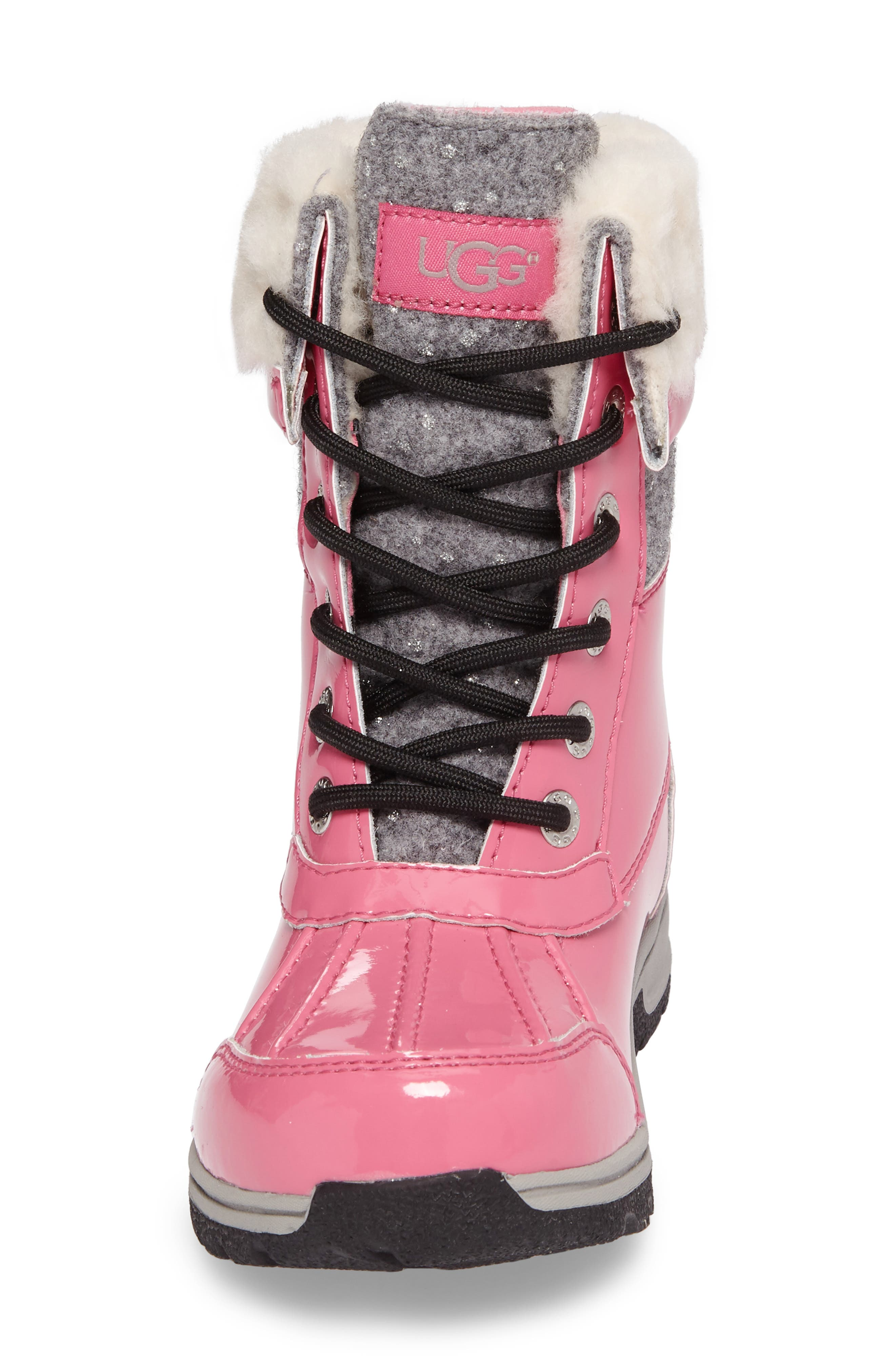 Butte II Patent Sparkle Waterproof Boot,                             Alternate thumbnail 4, color,                             Pink Azalea