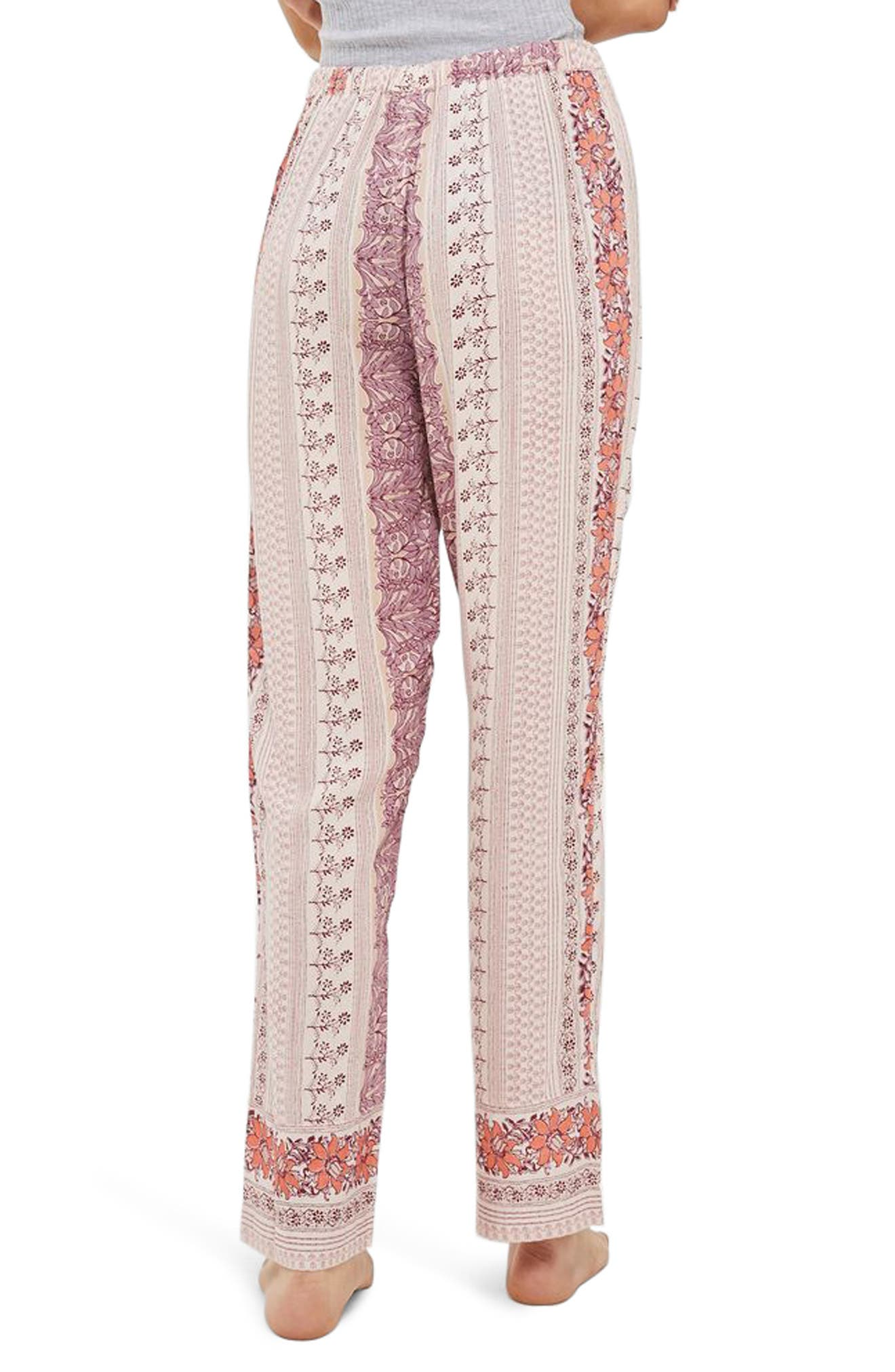 Bohemian Floral Print Pajama Pants,                             Alternate thumbnail 2, color,                             Lilac Multi