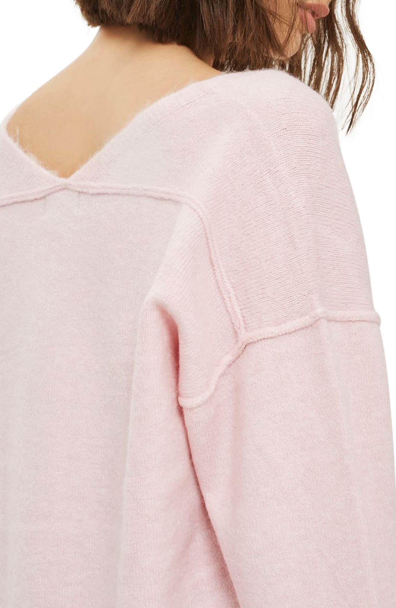 Exposed Seam Longline Sweater,                             Alternate thumbnail 3, color,                             Pink