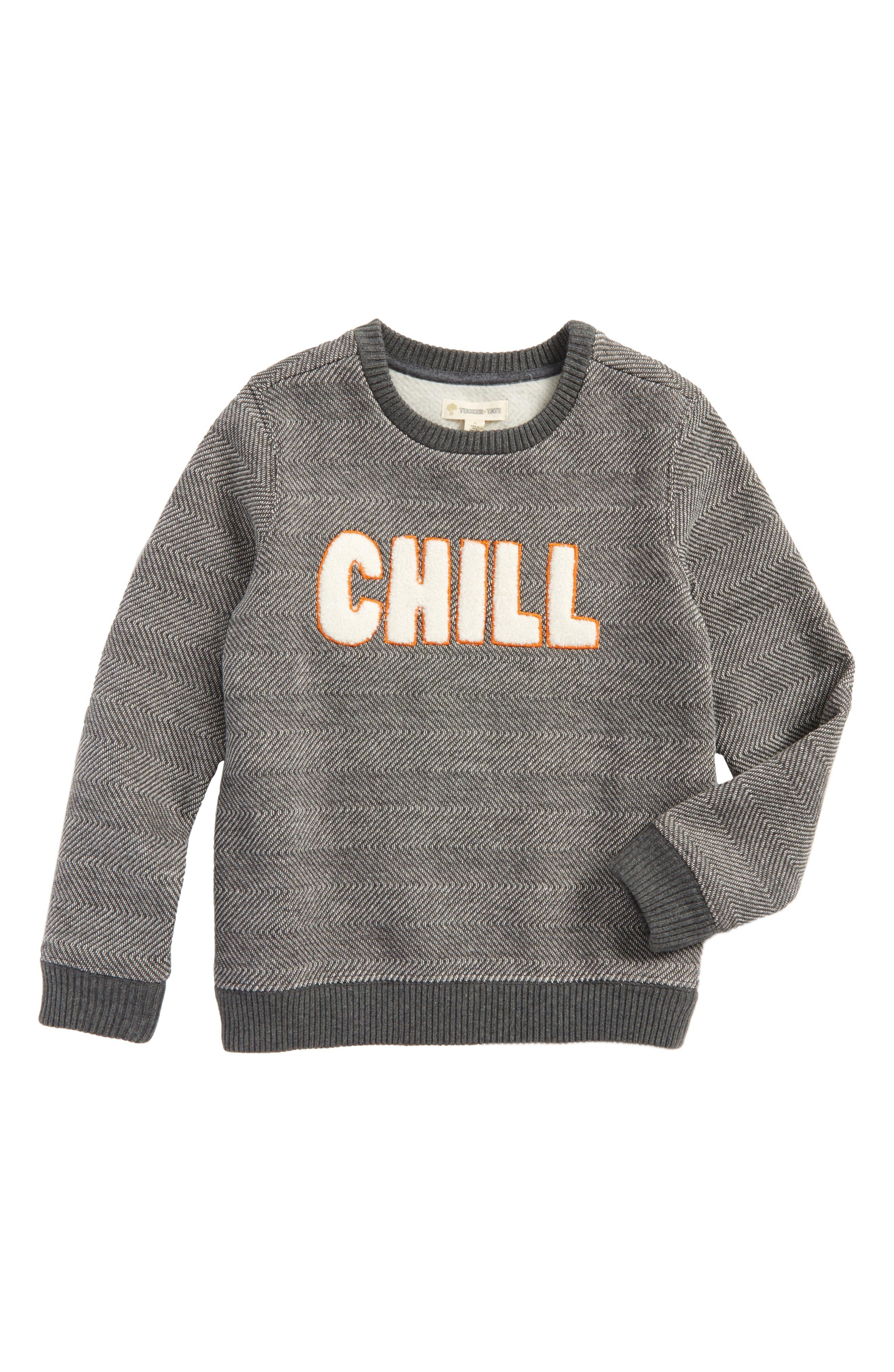 Fleece Sweatshirt,                         Main,                         color, Grey Castlerock Chill