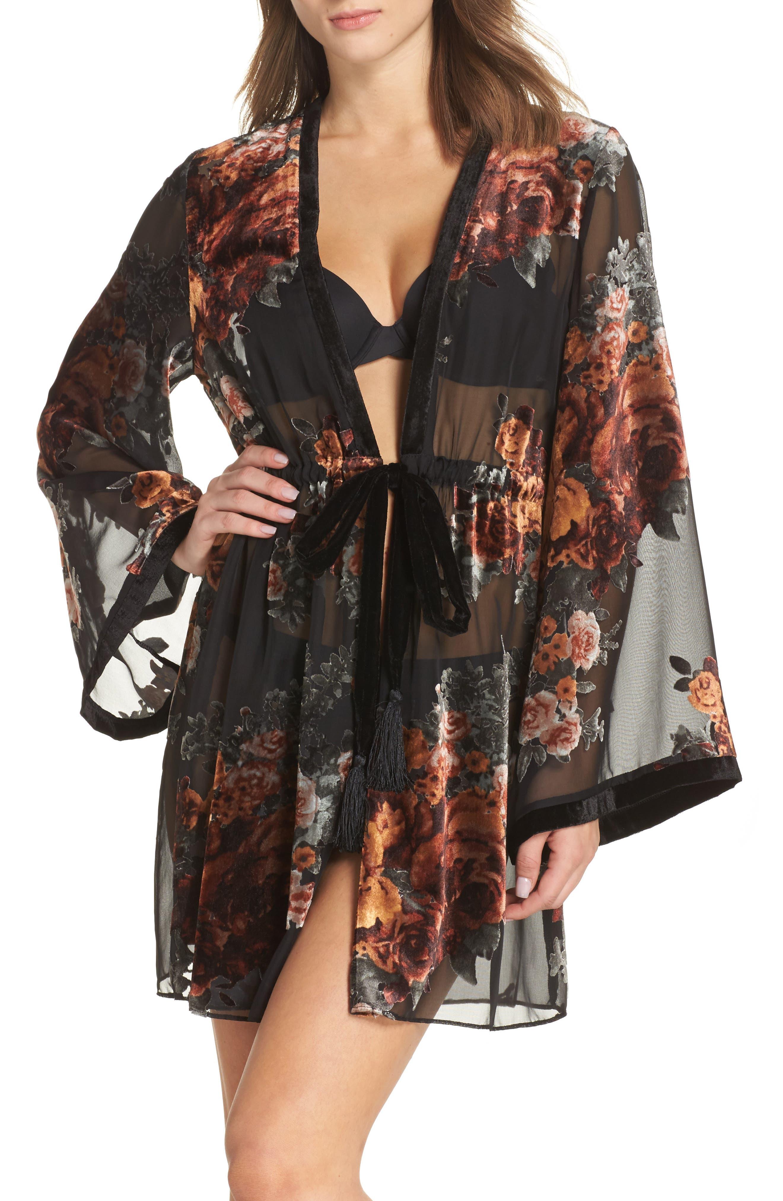 Sylvie Velvet Wrap,                         Main,                         color, Black