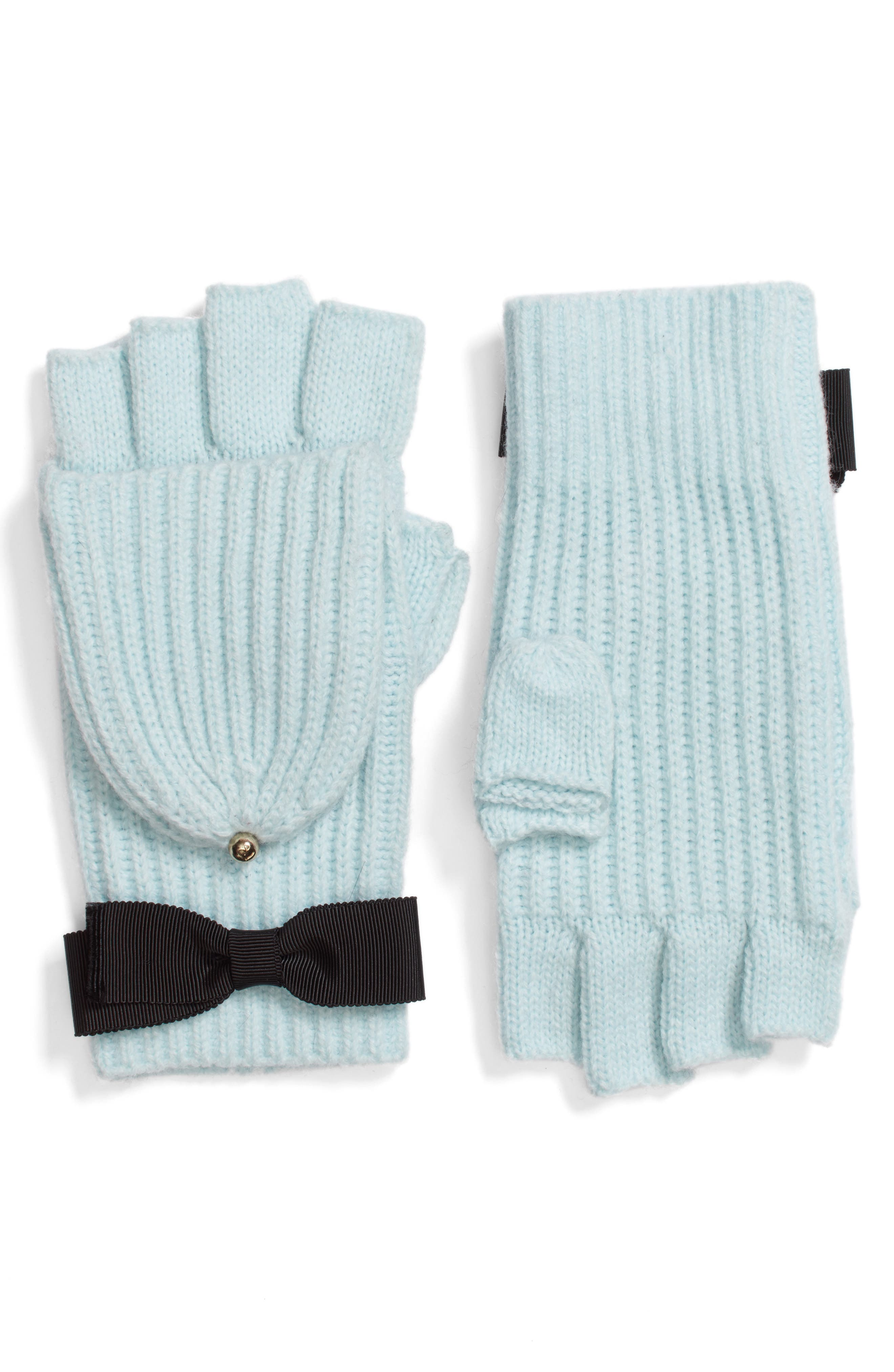 grosgrain bow convertible knit mittens,                             Main thumbnail 1, color,                             Icy Blue