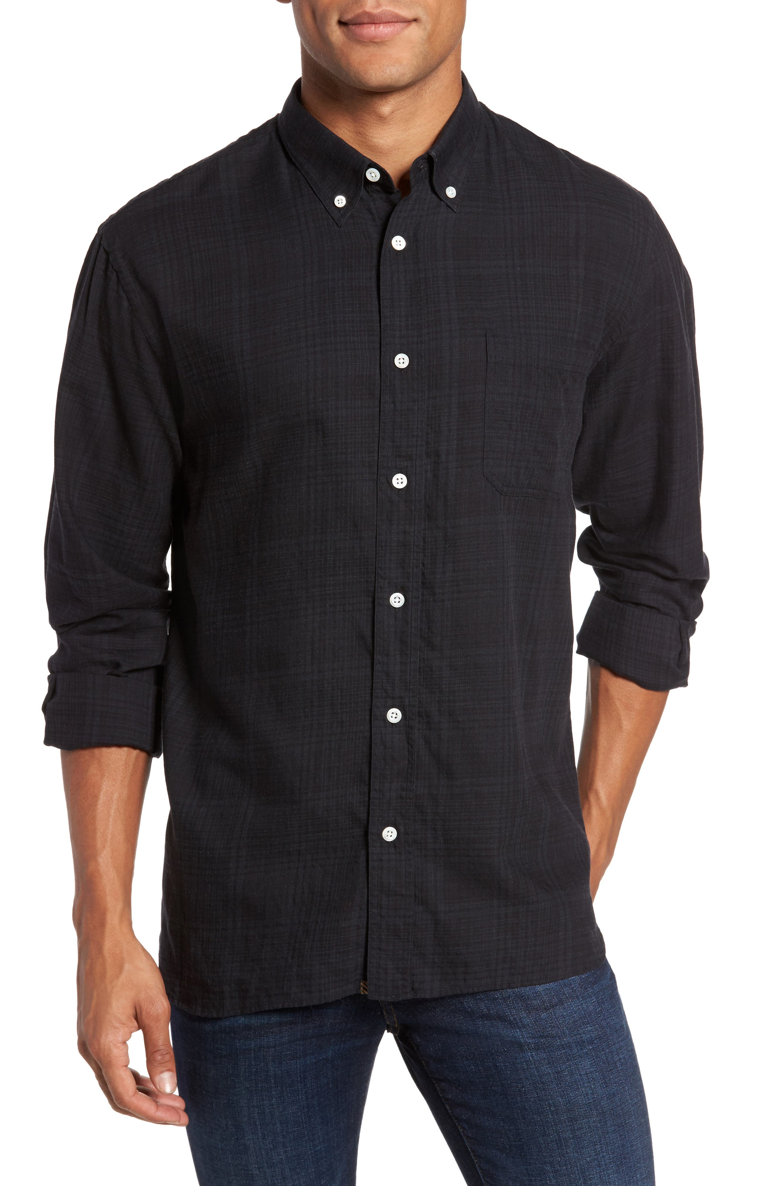 Rosedale Slim Fit Plaid Sport Shirt,                             Main thumbnail 1, color,                             Charcoal