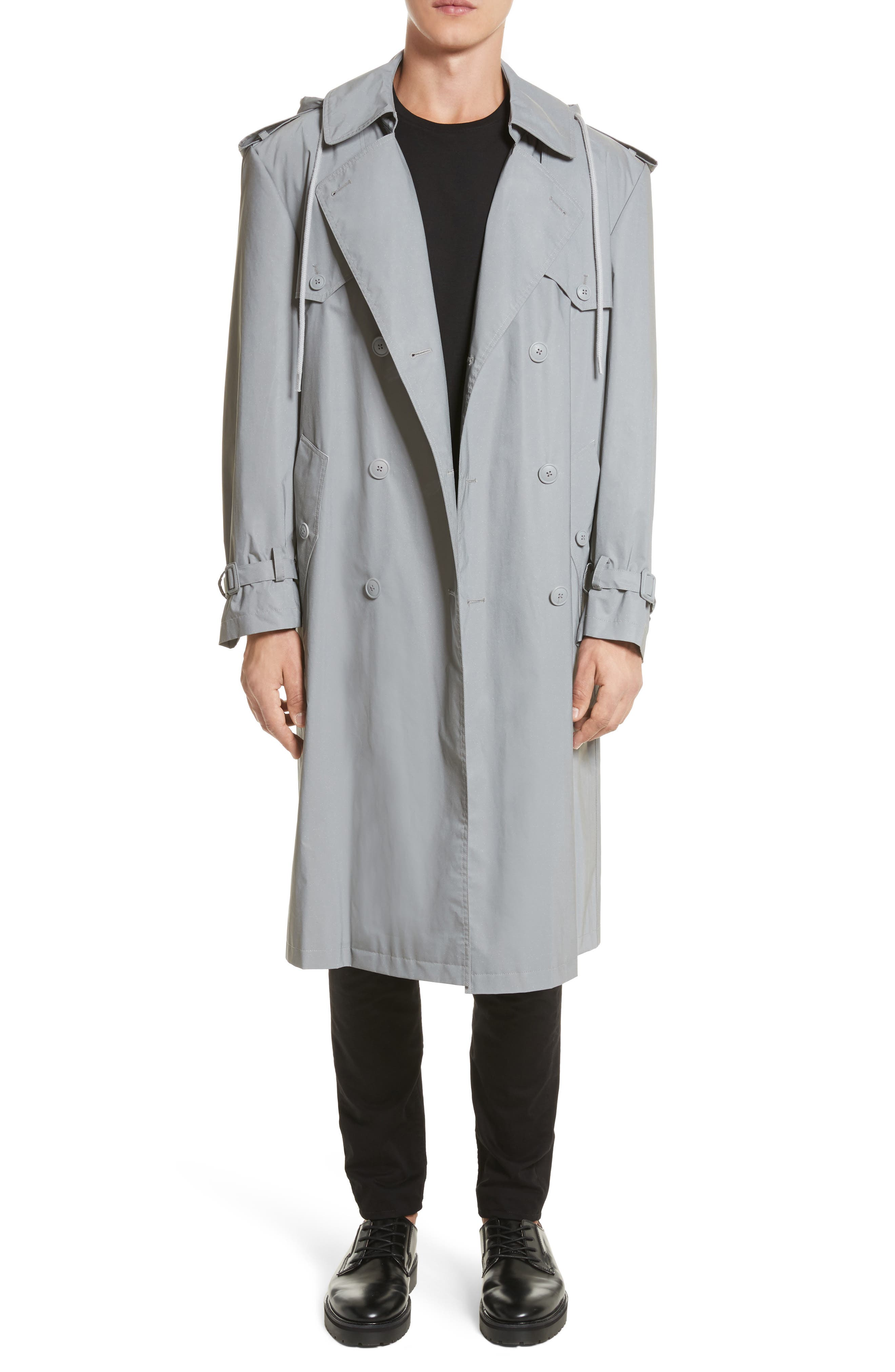 Helmut Lang Reflective Hooded Trench Coat