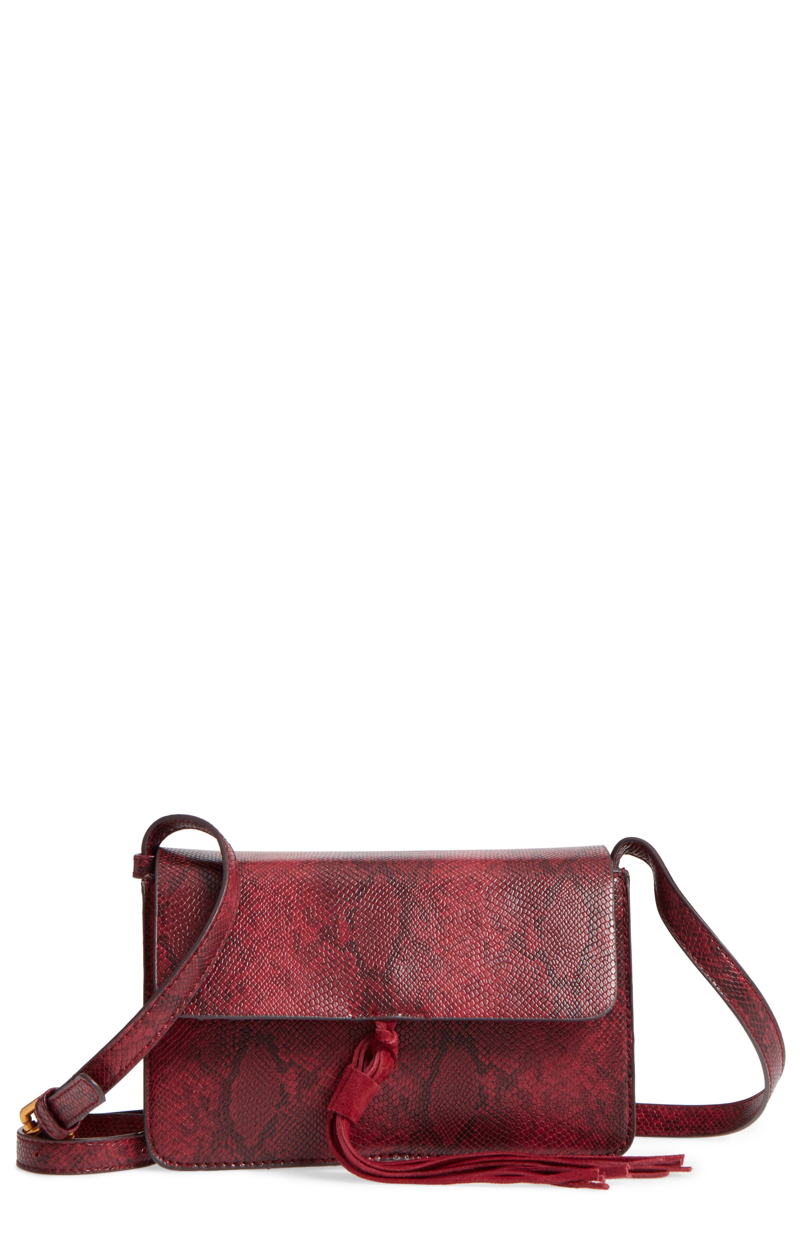Alternate Image 1 Selected - Street Level Snake Embossed Faux Leather Crossbody Bag