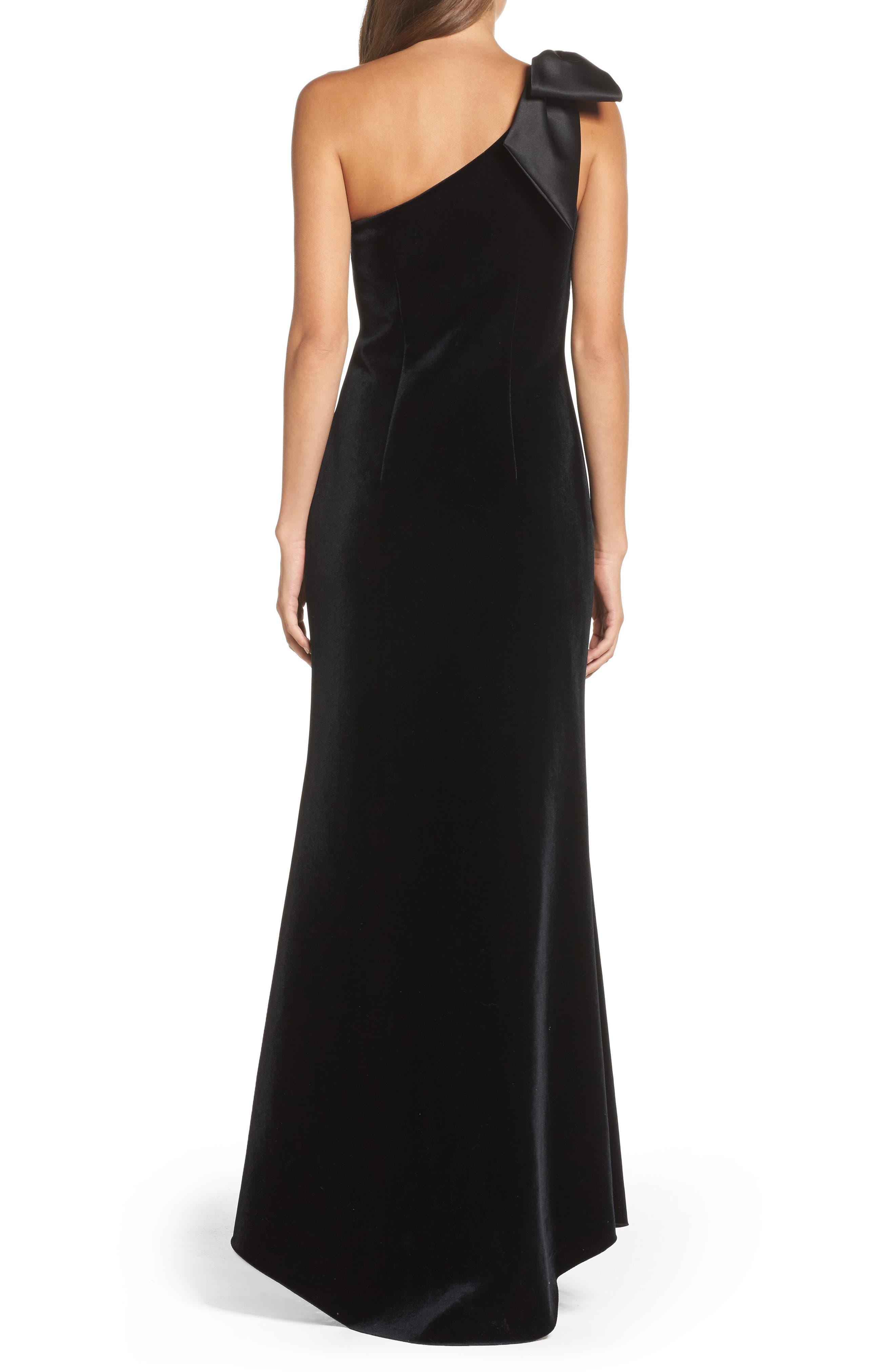 Bow One-Shoulder Velvet Gown,                             Alternate thumbnail 3, color,                             Black