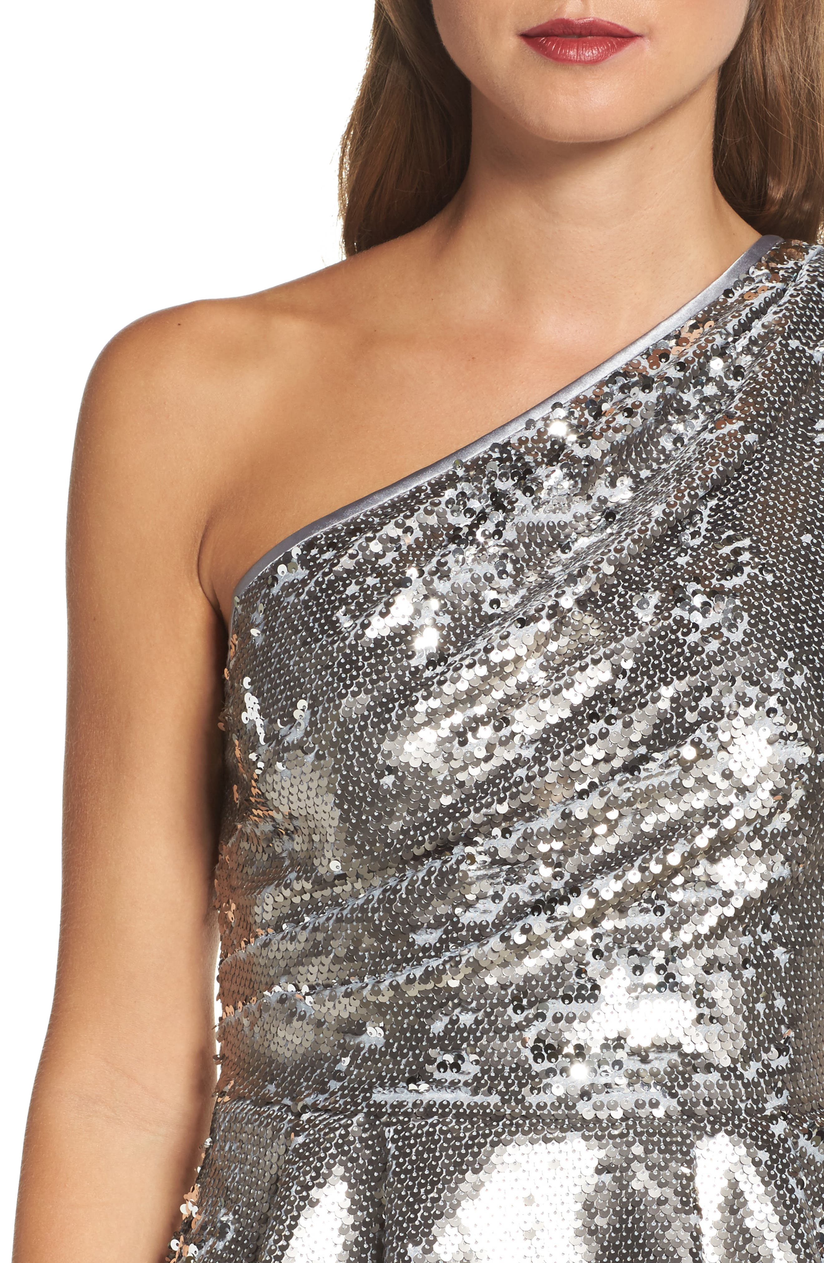 One-Shoulder Sequin Peplum Top,                             Alternate thumbnail 6, color,                             Silver