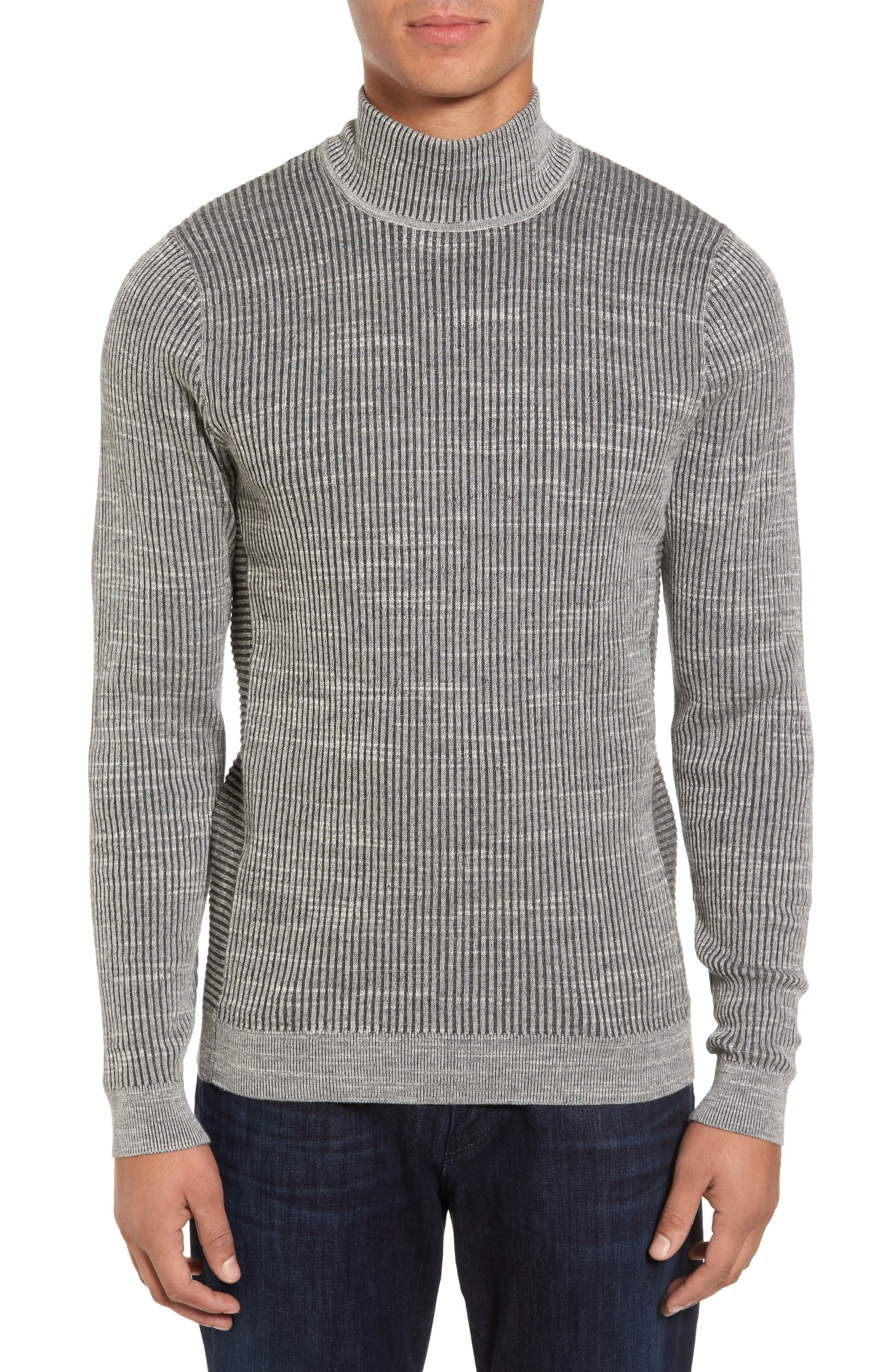 Mock Neck Sweater,                             Main thumbnail 1, color,                             Grey Dark Charcoal