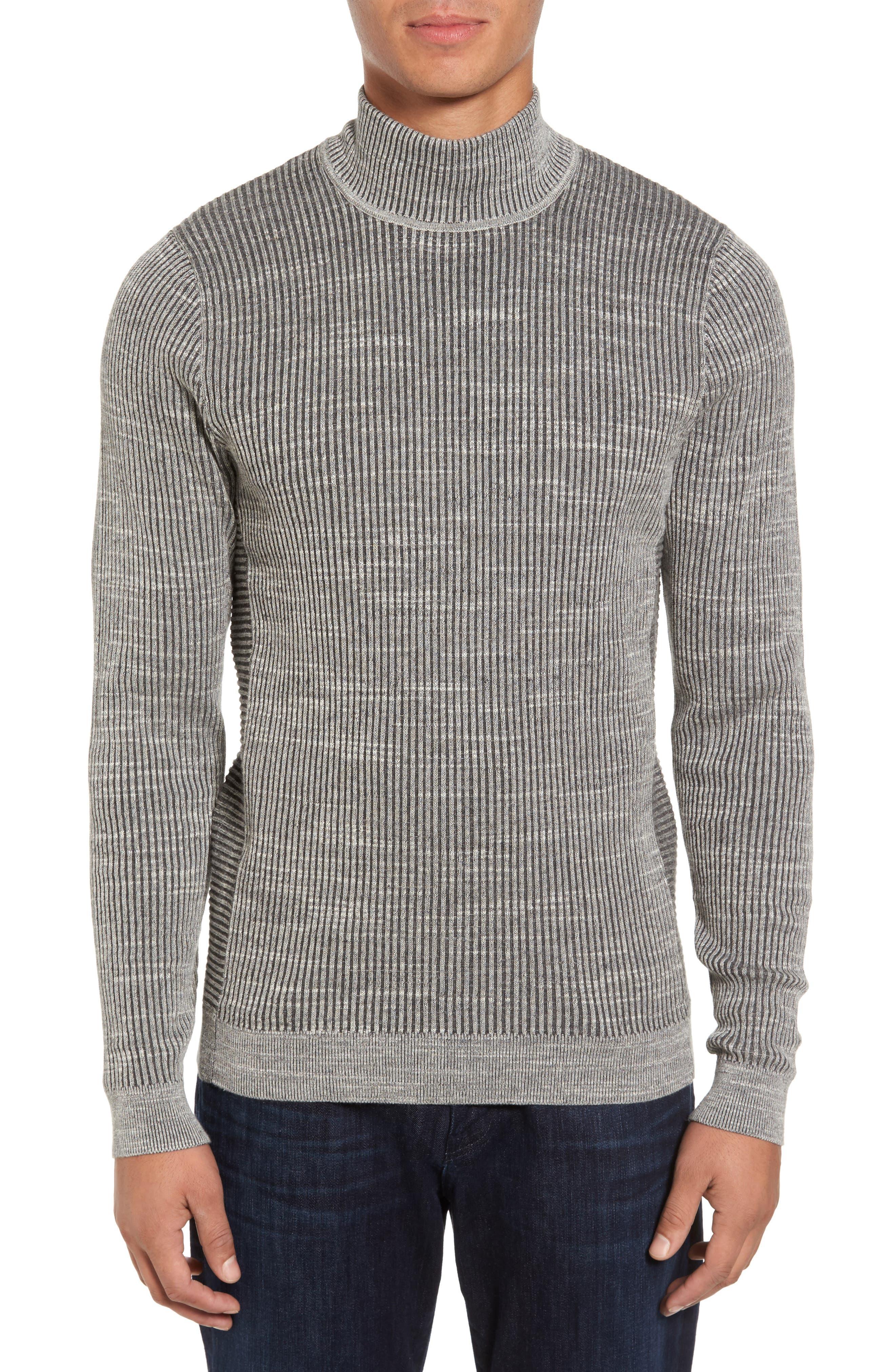 Mock Neck Sweater,                         Main,                         color, Grey Dark Charcoal