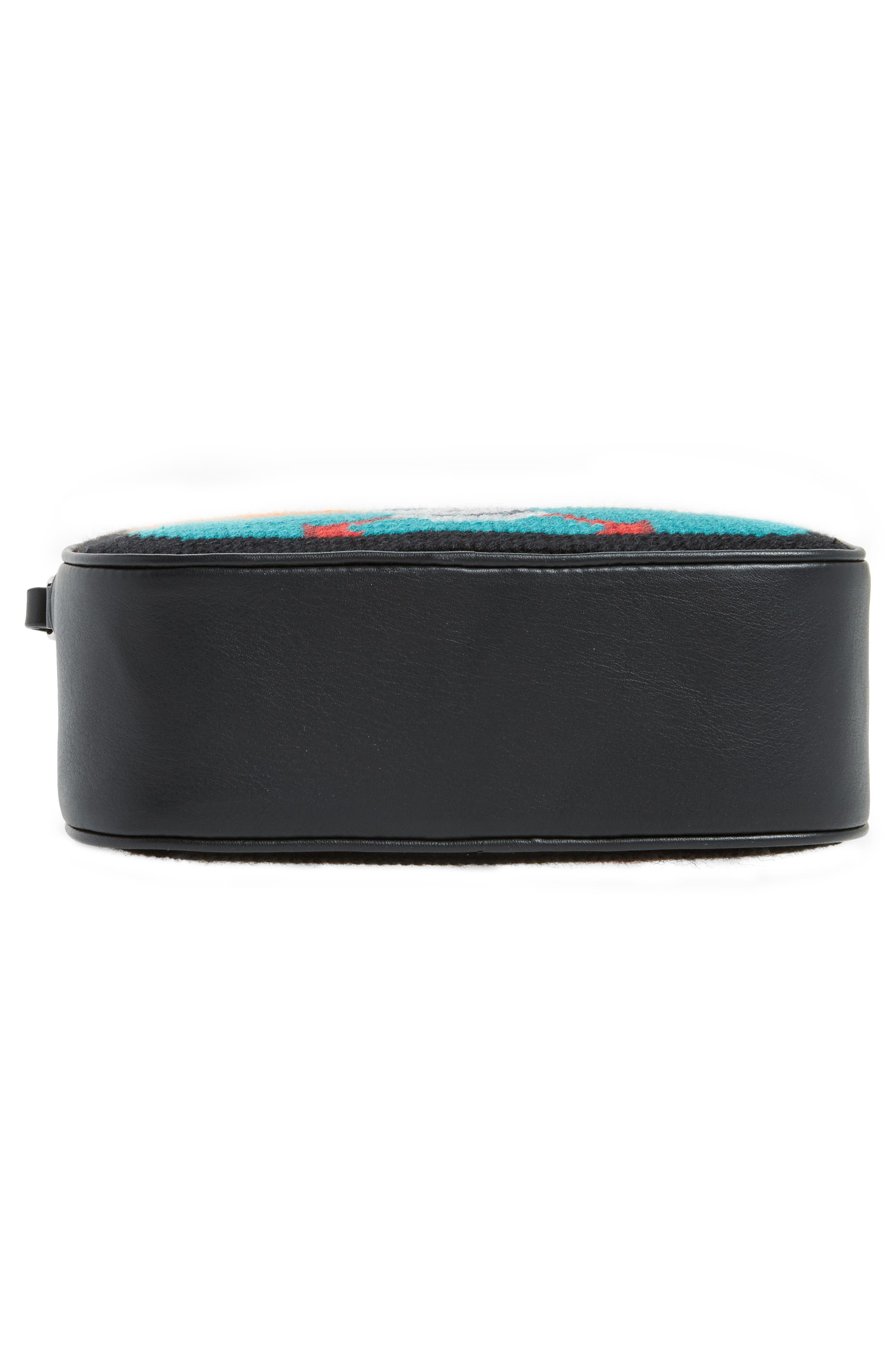 Small Embroidered Leather Camera Bag,                             Alternate thumbnail 6, color,                             Black Multicolor