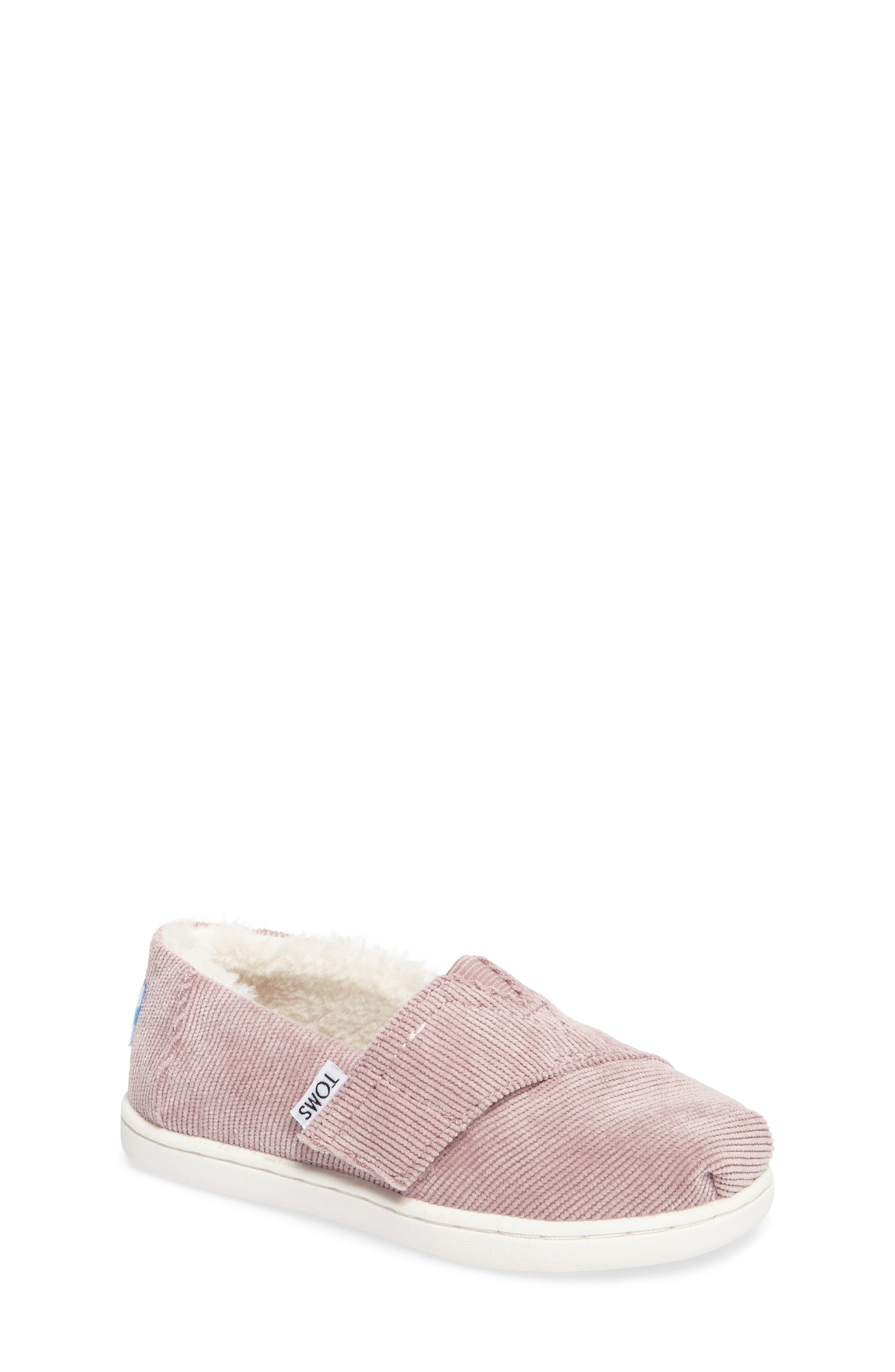 Classic - Tiny Herringbone Faux Shearling Lined Slip-On,                         Main,                         color, Rose Corduroy/ Faux Shearling