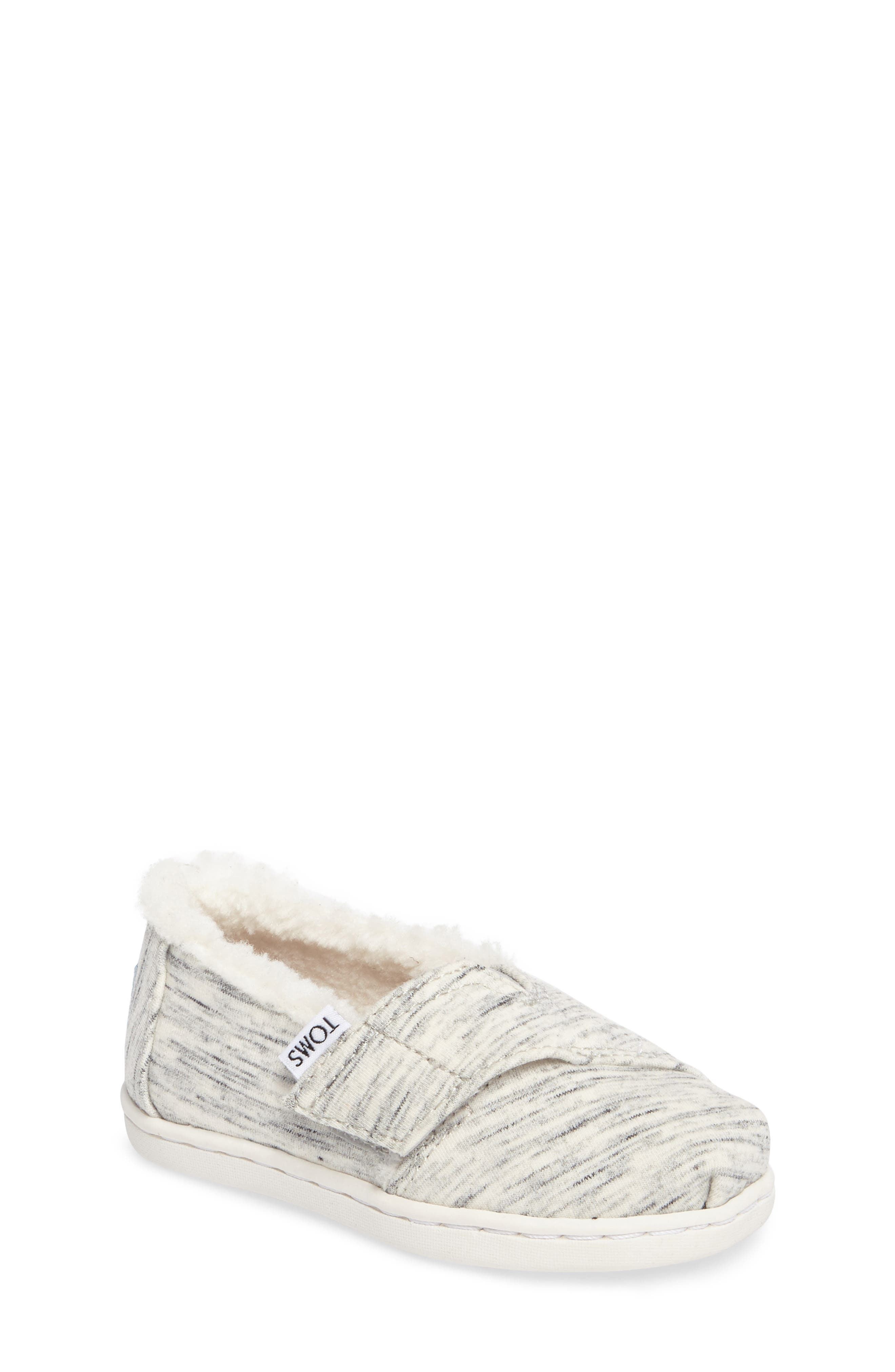 Classic - Tiny Herringbone Faux Shearling Lined Slip-On,                         Main,                         color, Birch Jersey/ Faux Shearling