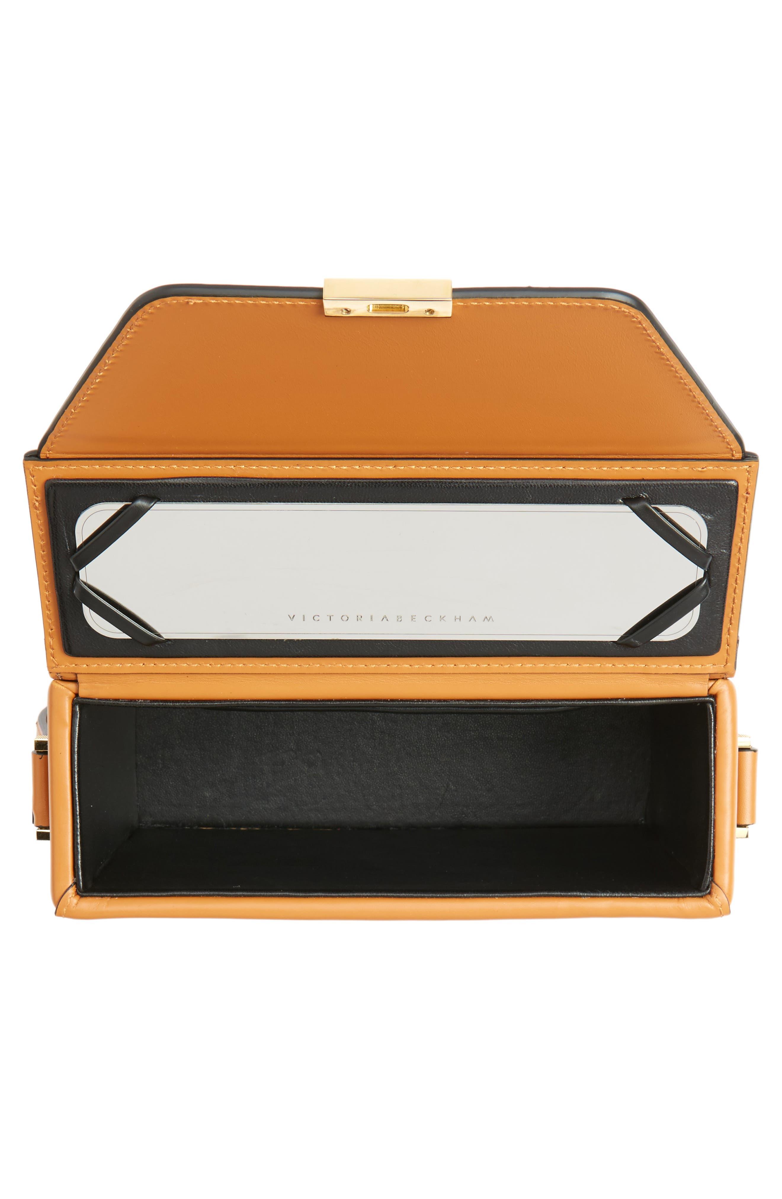 Vanity Calfskin Leather Box Bag,                             Alternate thumbnail 4, color,                             Mustard