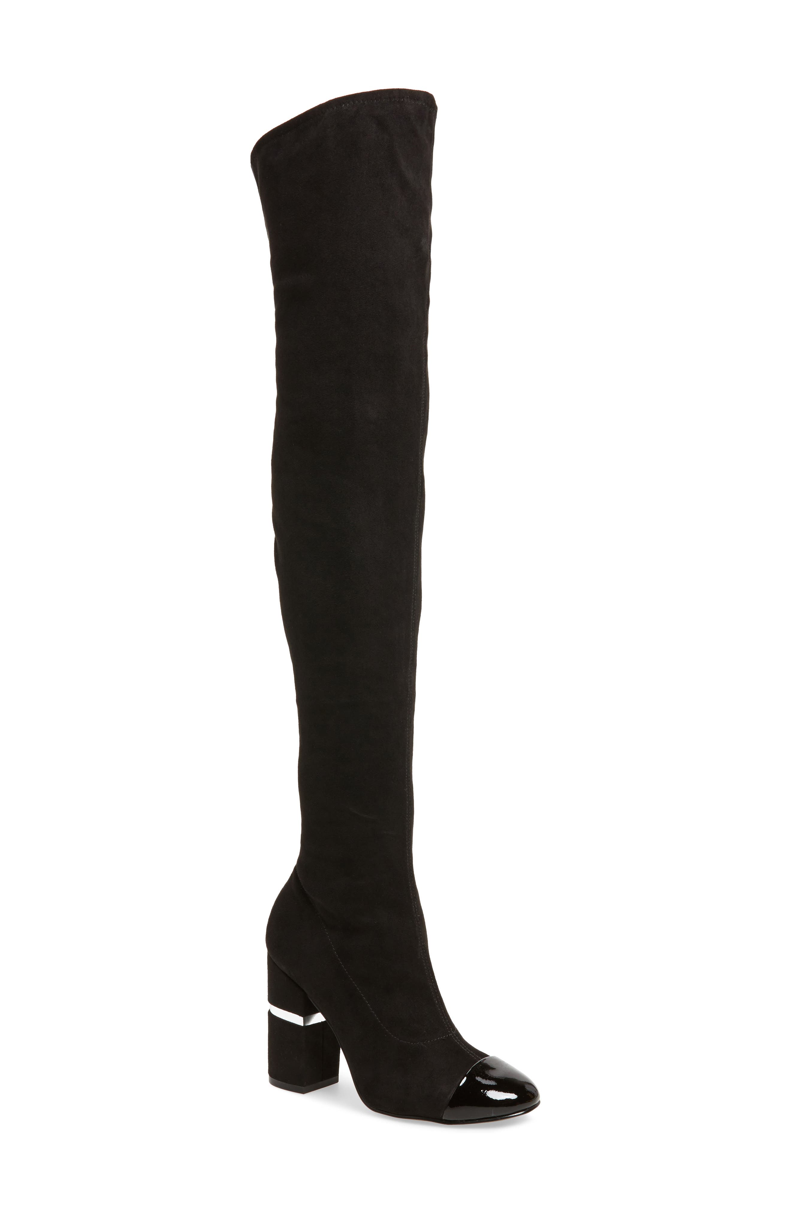 Petel Over the Knee Boot,                             Main thumbnail 1, color,                             Black Faux Suede
