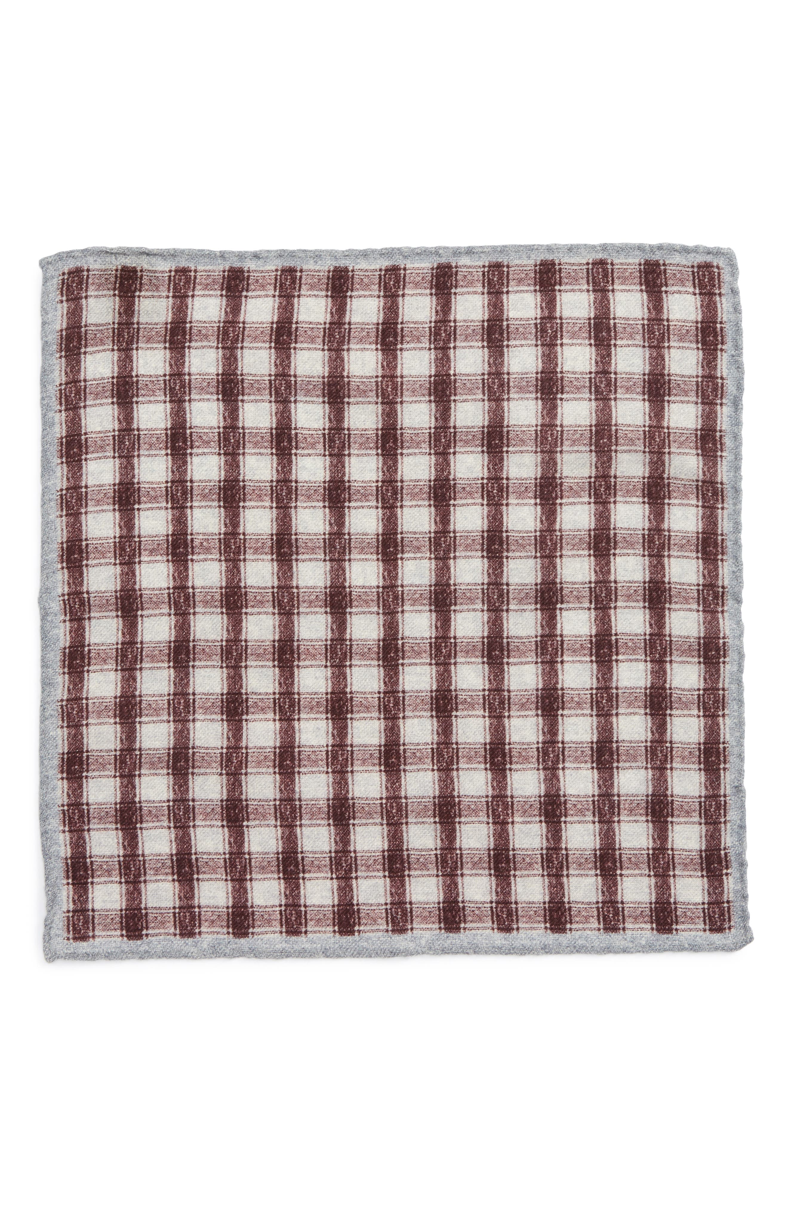 Check Wool Pocket Square,                             Alternate thumbnail 3, color,                             Red