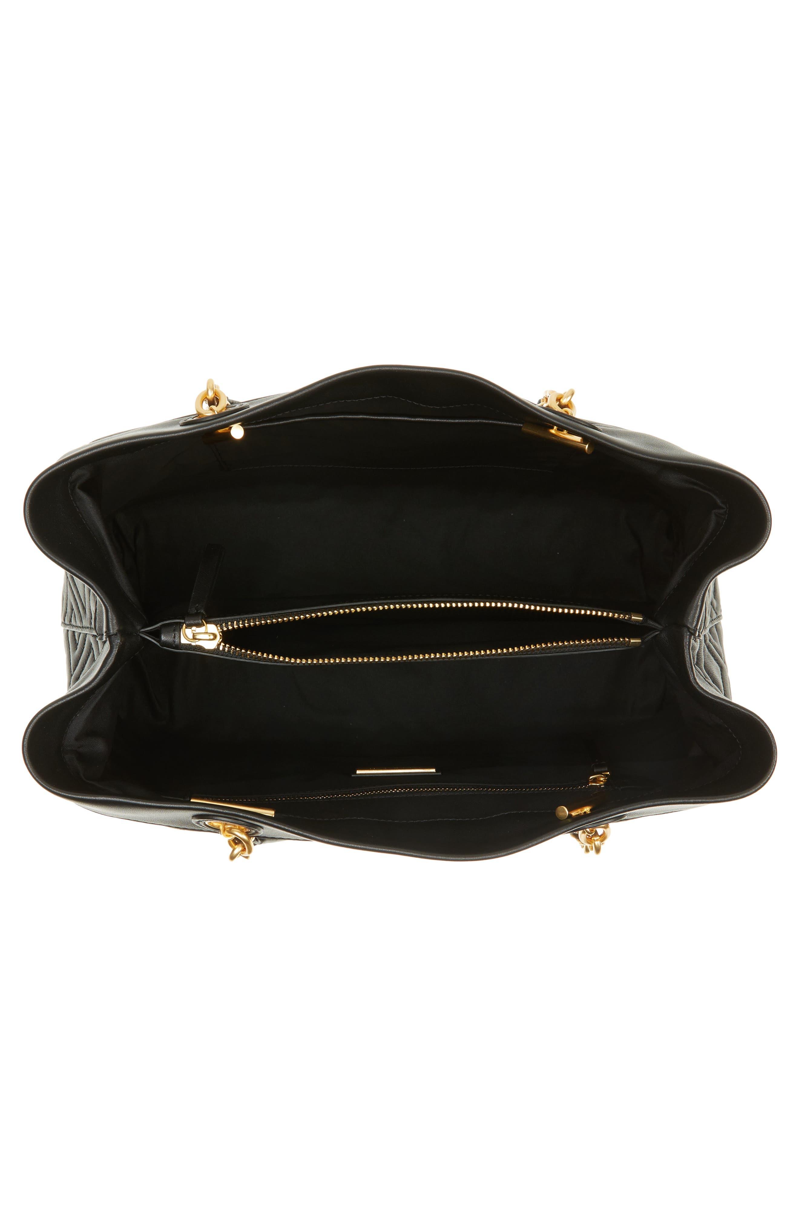Lousia Lambskin Leather Tote,                             Alternate thumbnail 3, color,                             Black