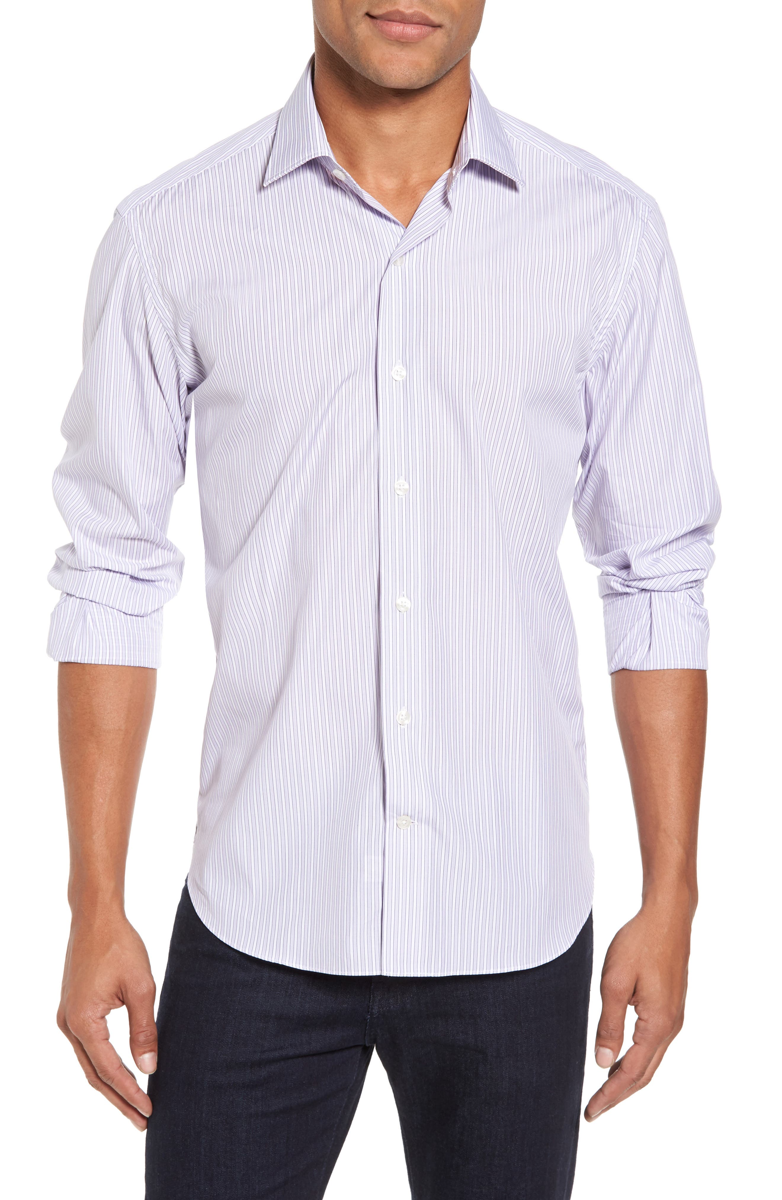 Slim Fit Perfect Stripe Sport Shirt,                             Main thumbnail 1, color,                             Purple