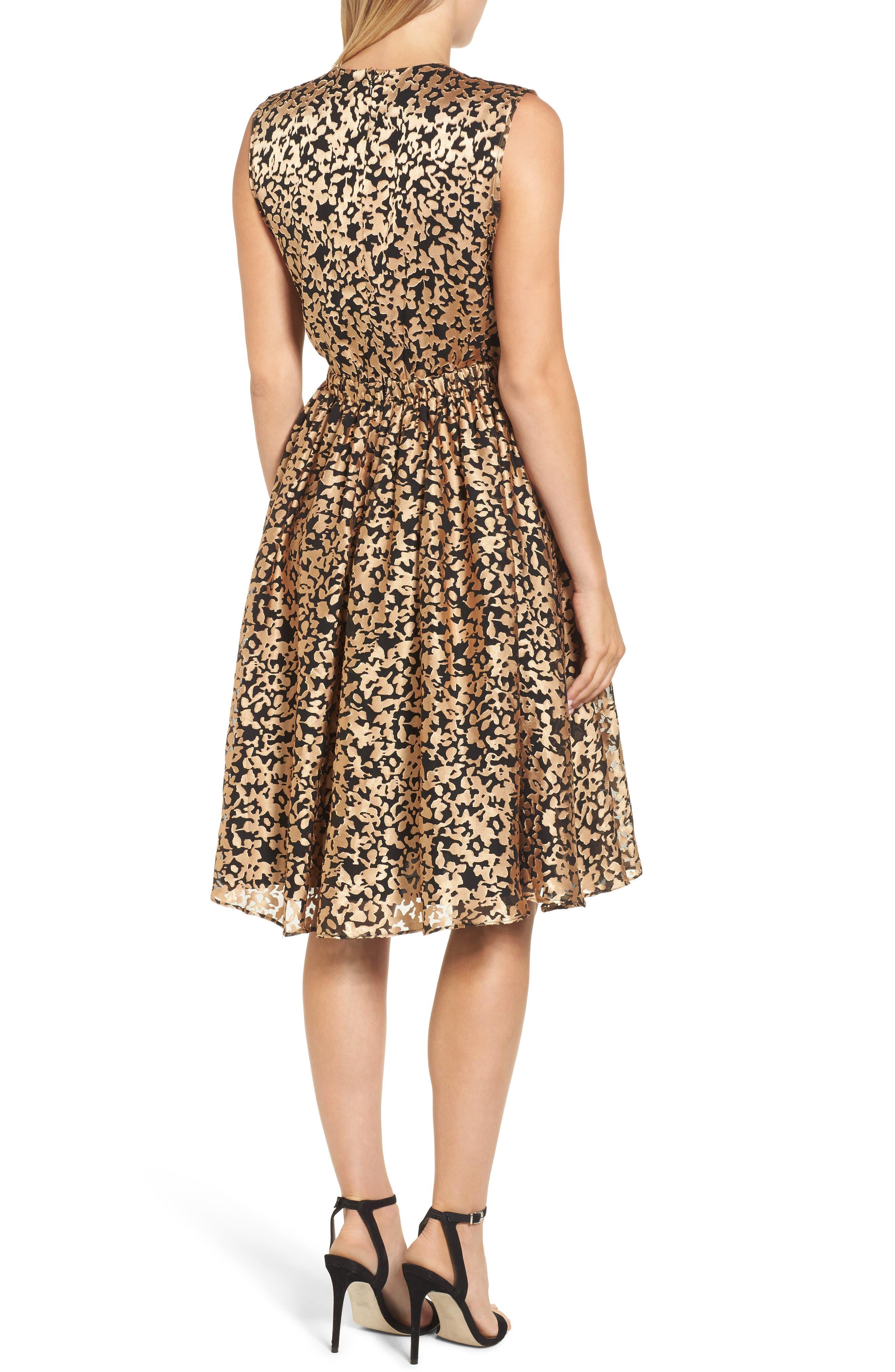 Kells Metallic Fit & Flare Dress,                             Alternate thumbnail 2, color,                             Gold/ Black