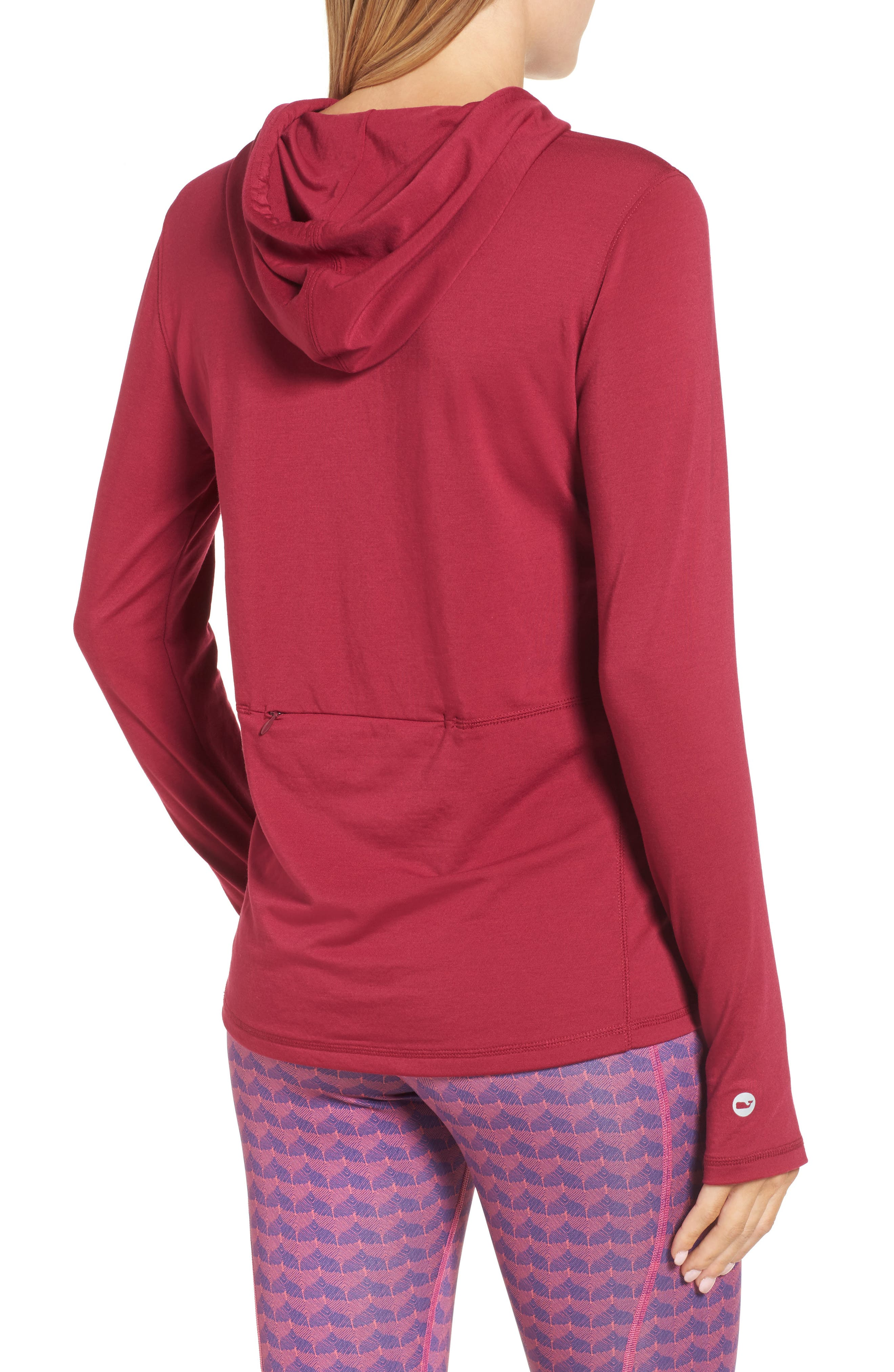 Whale Tail Hooded Tee,                             Alternate thumbnail 2, color,                             Beet Red