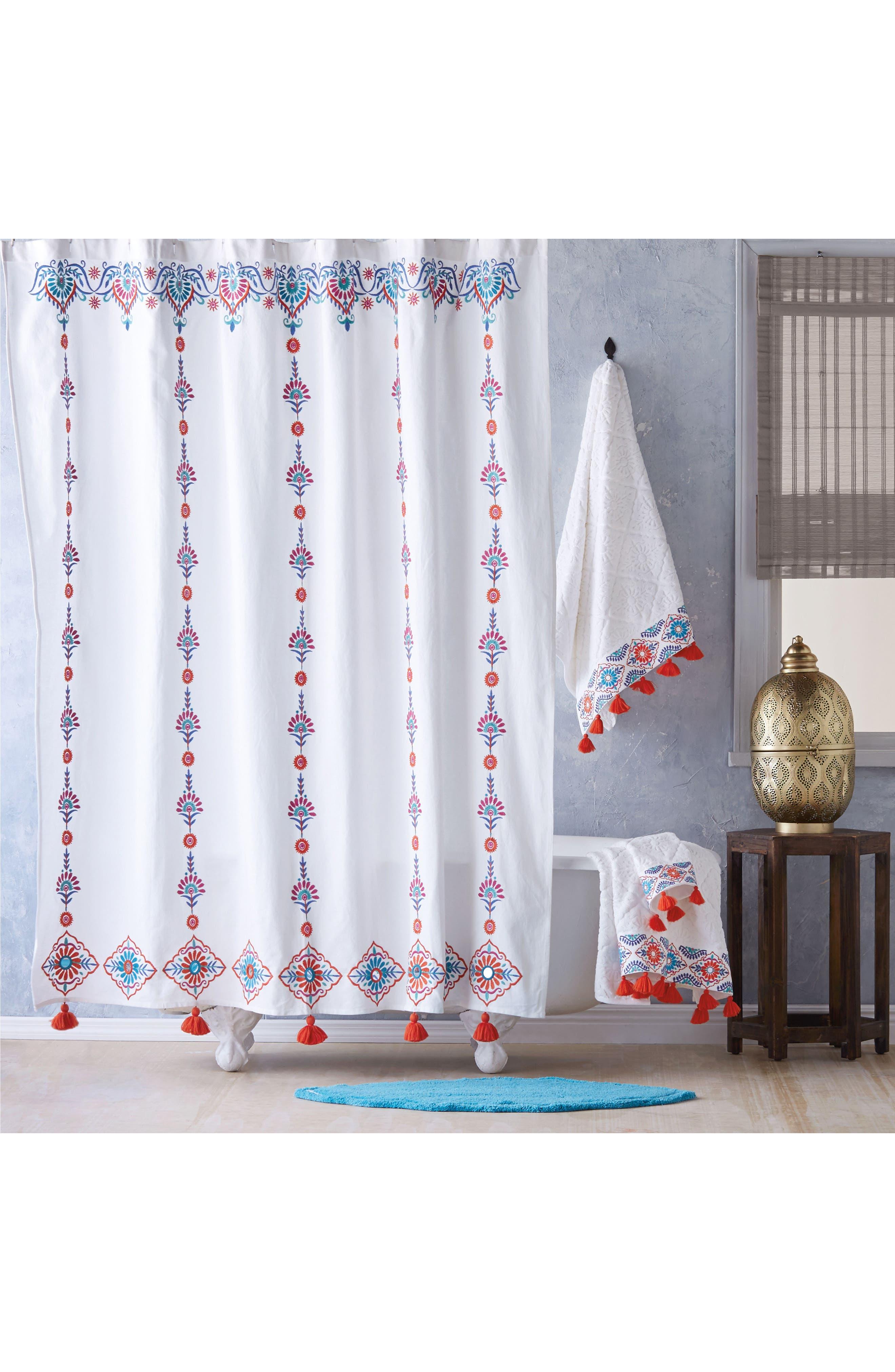 Aloka Shower Curtain,                             Main thumbnail 1, color,                             Coral