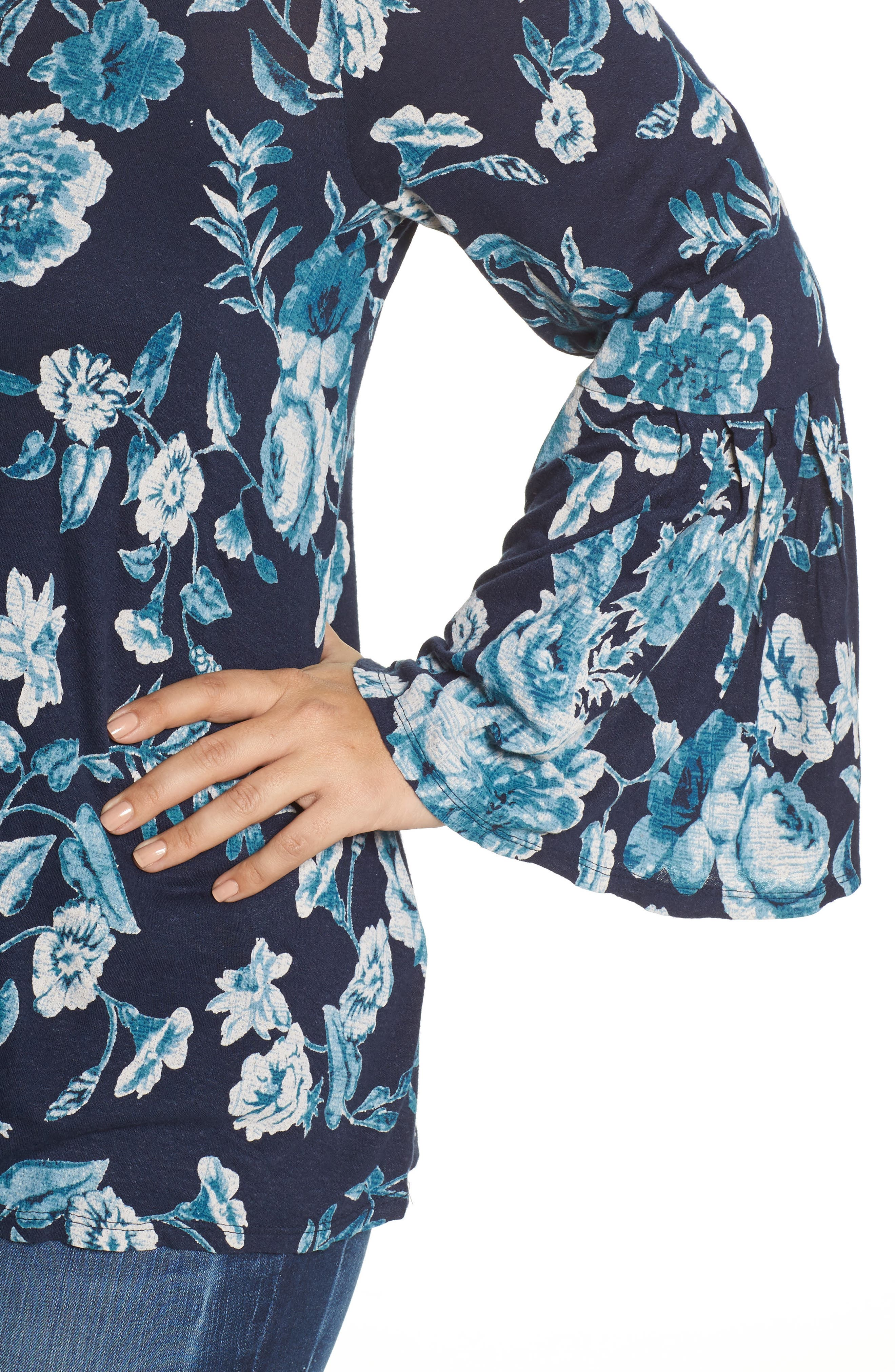 Alternate Image 4  - Lucky Brand Encinitas Bell Sleeve Floral Top (Plus Size)