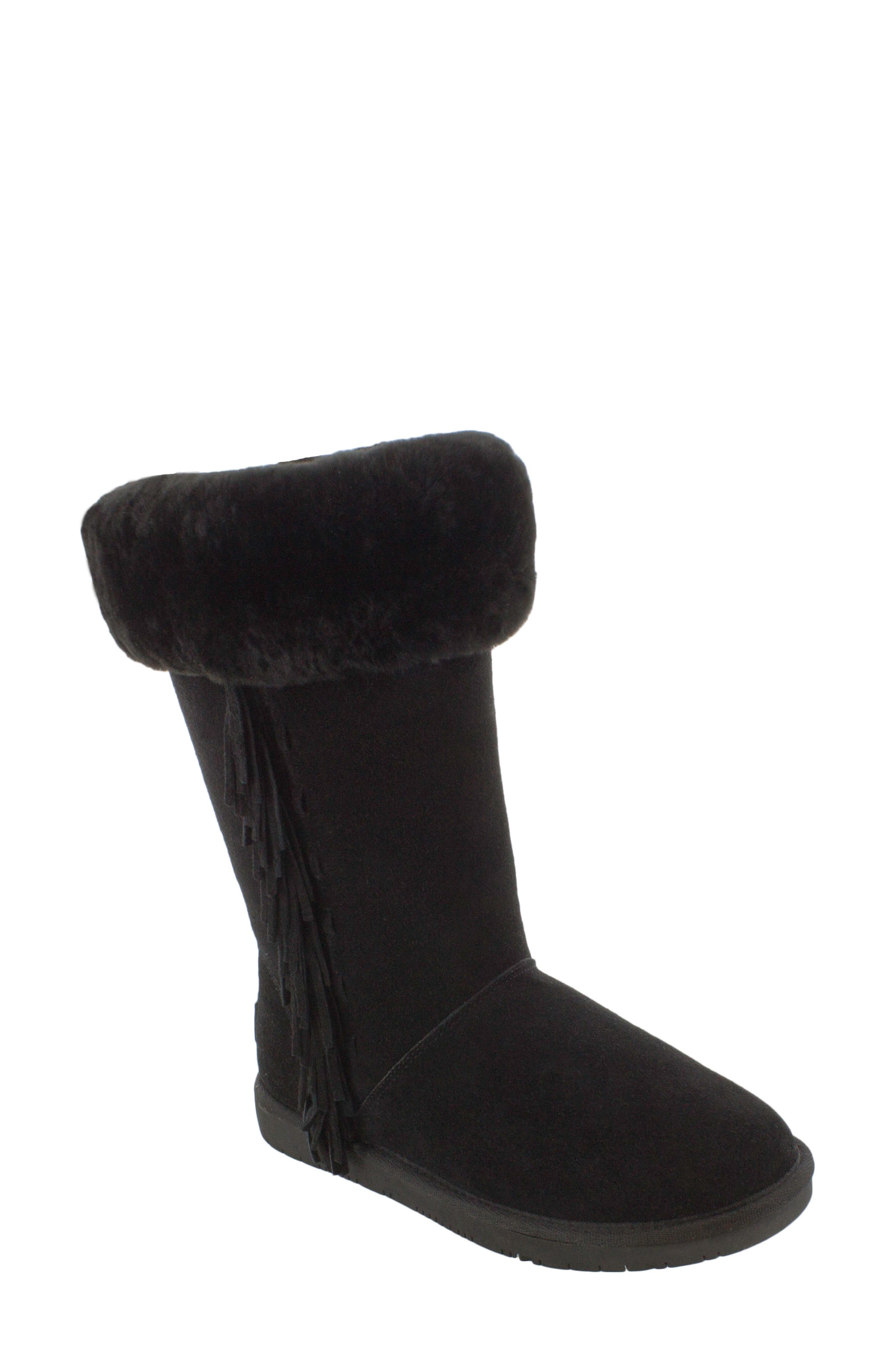 Canyon Genuine Shearling Trim Boot,                         Main,                         color, Black