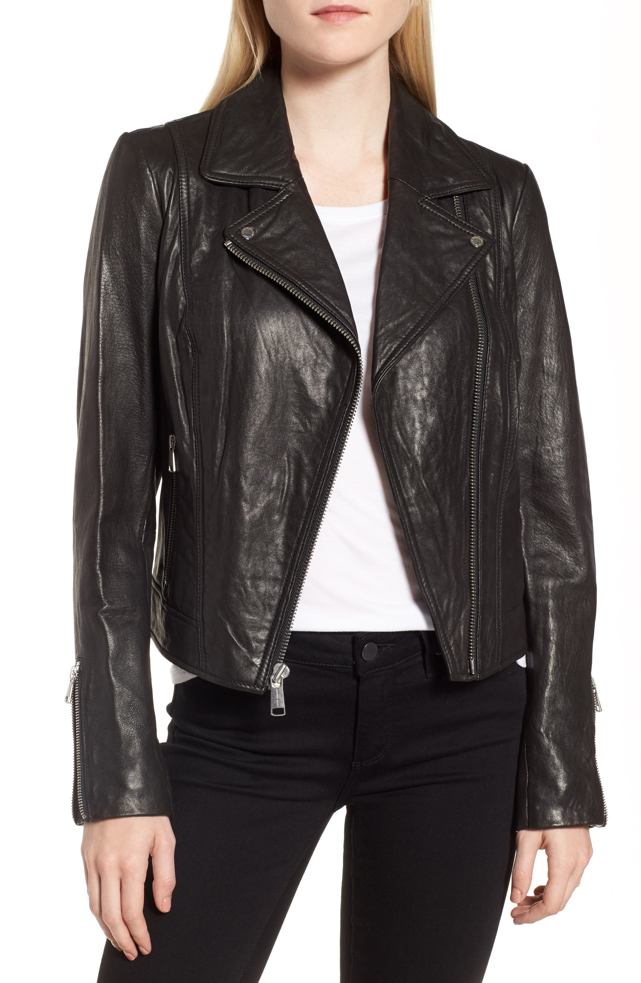 Leather Jacket,                         Main,                         color, Black