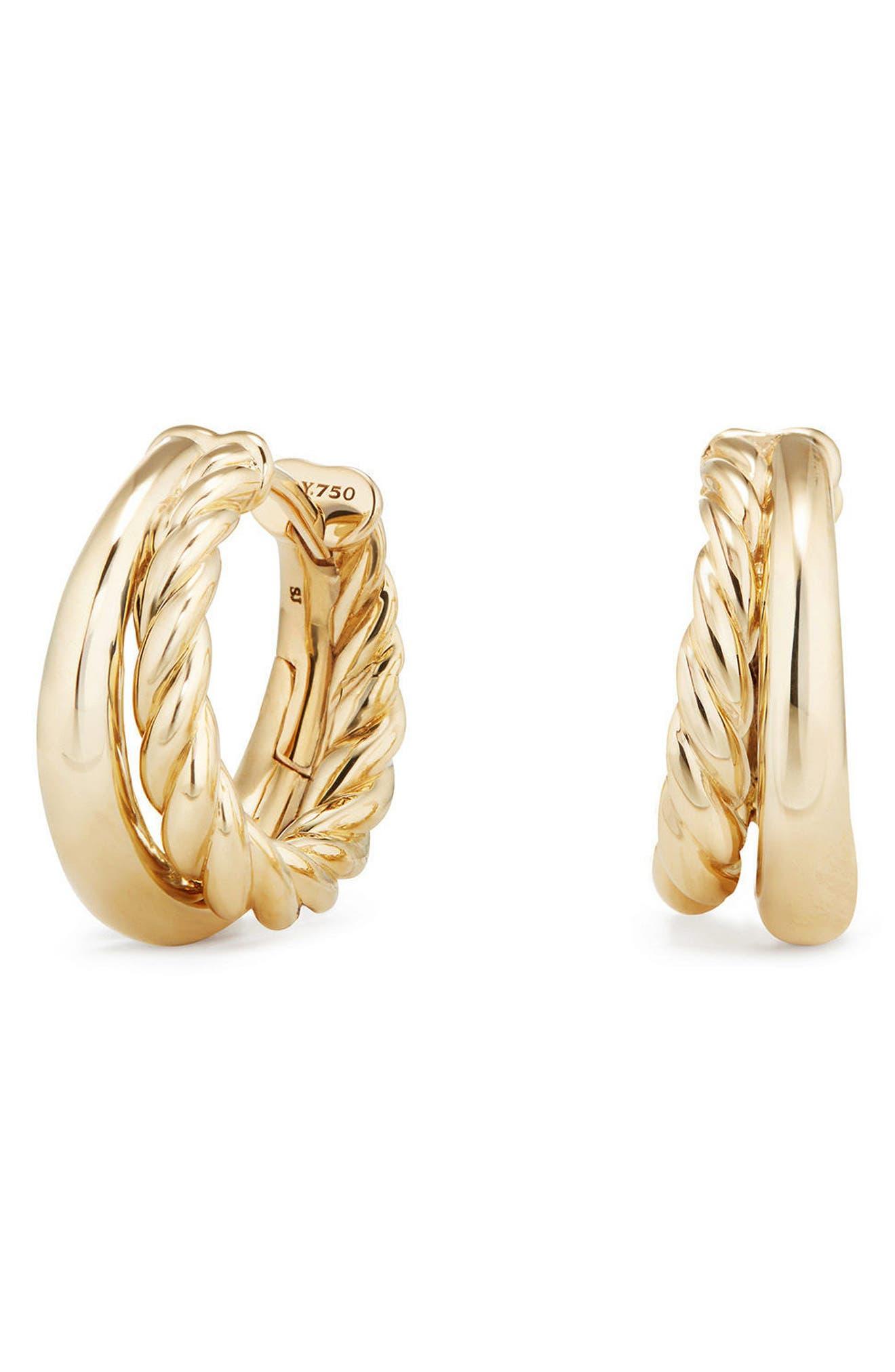 David Yurman Pure Form Hoop Earrings in 18K Gold, 25.5mm