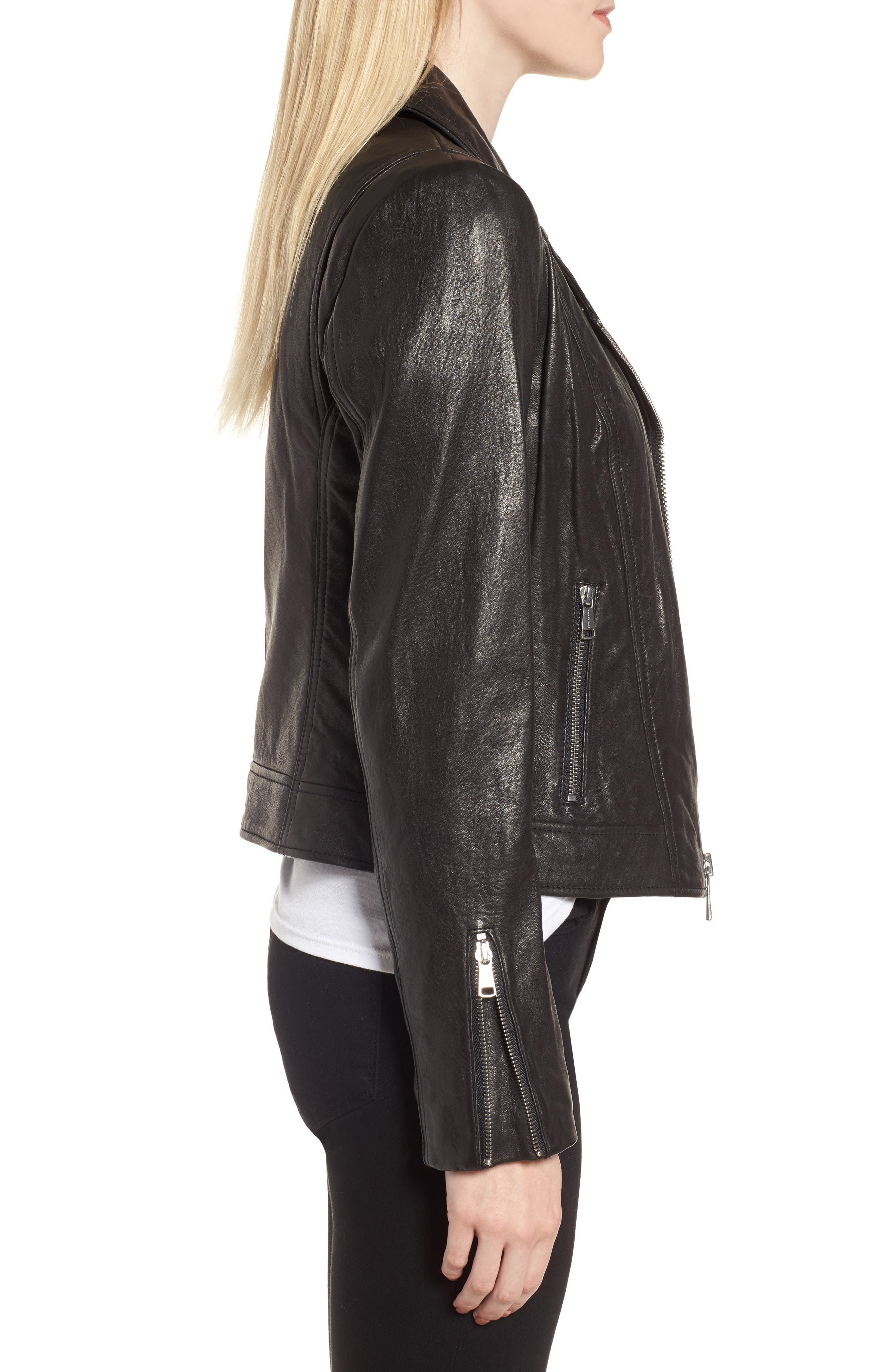 Leather Jacket,                             Alternate thumbnail 3, color,                             Black