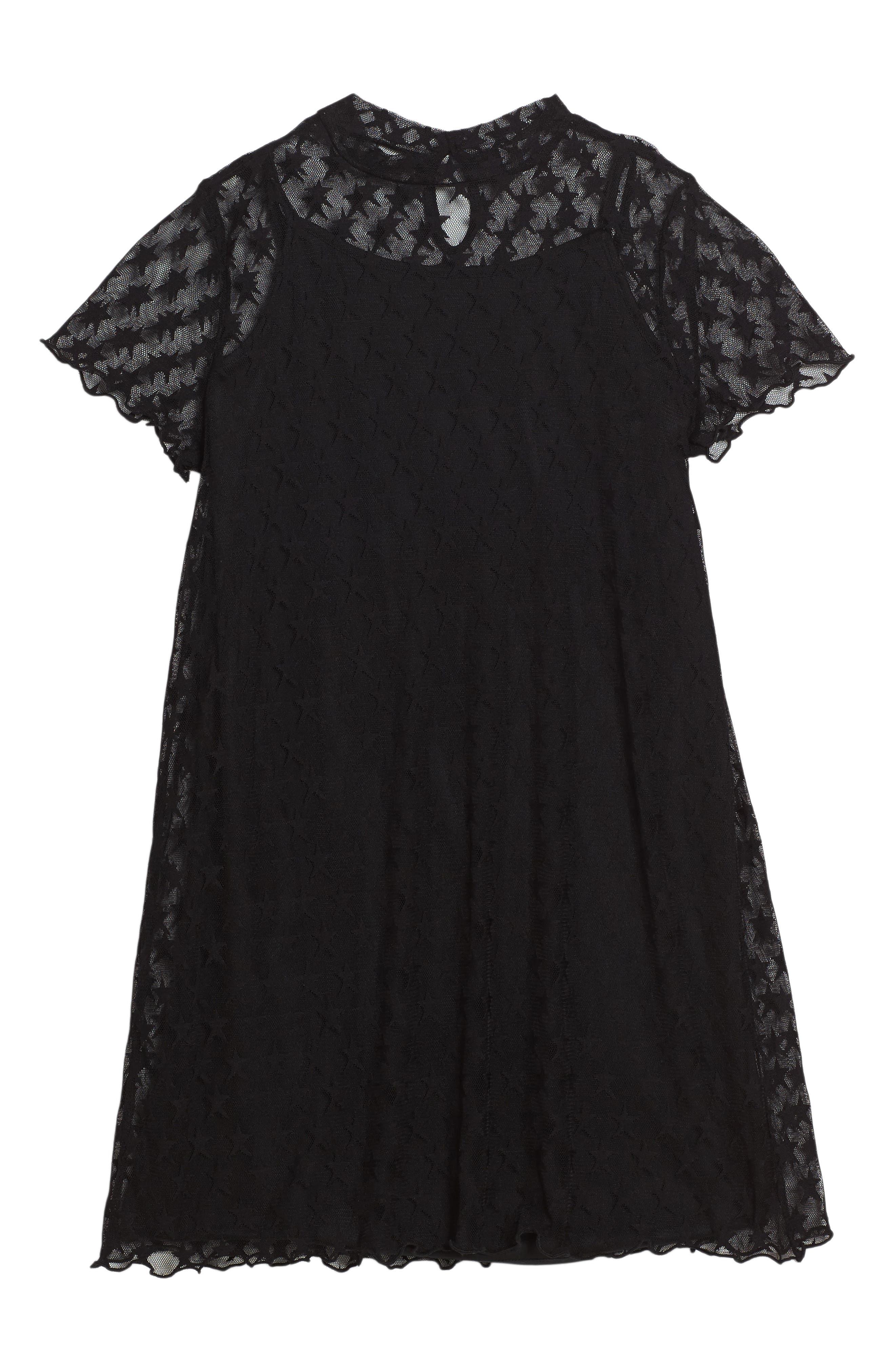 Star Mesh Dress,                             Main thumbnail 1, color,                             Black