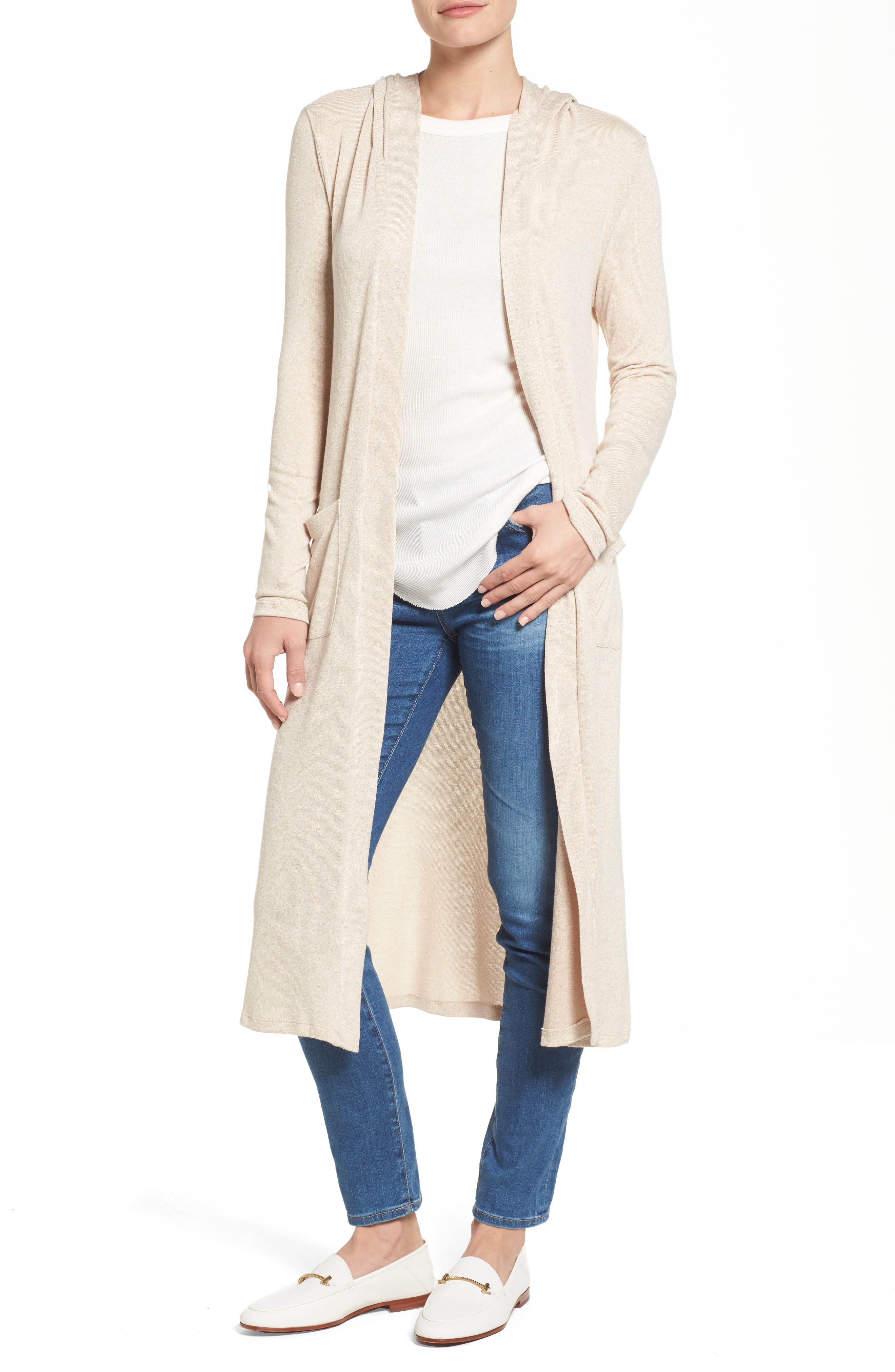 Caslon® Hooded Knit Duster