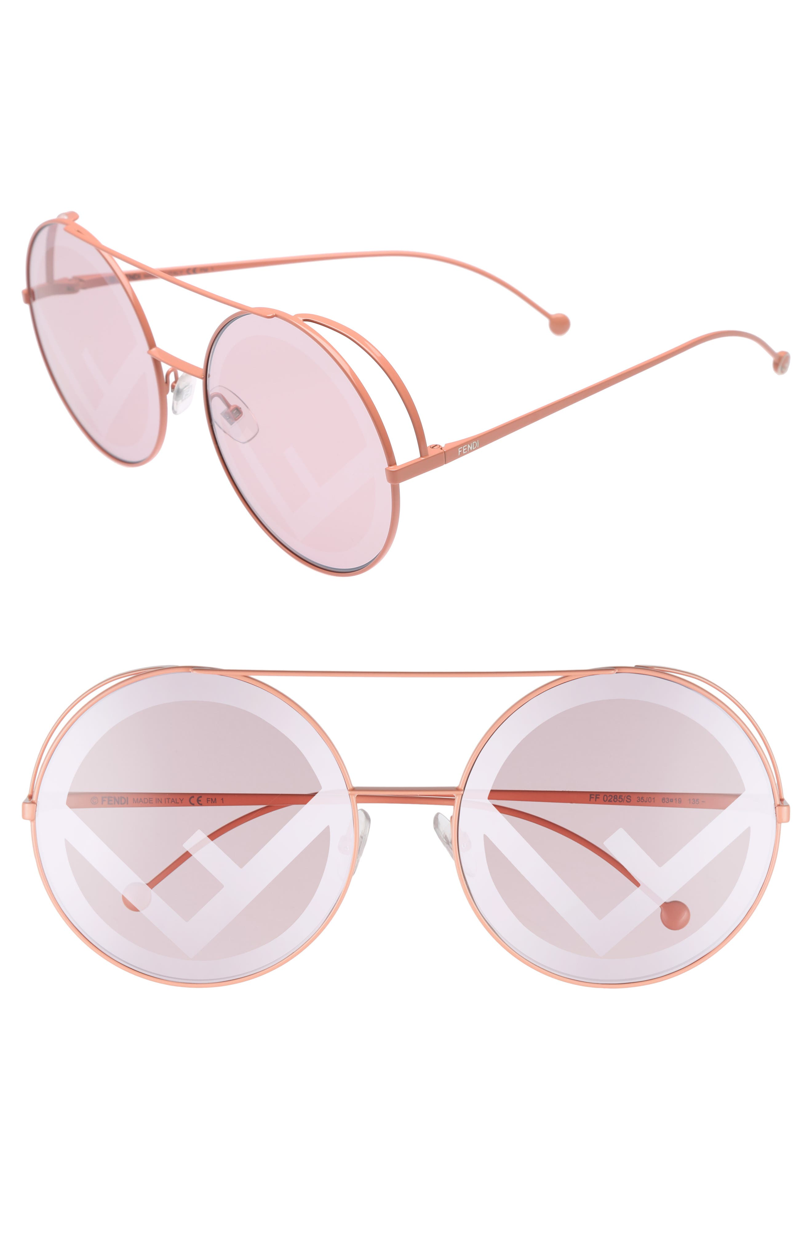 Alternate Image 1 Selected - Fendi Run Away 63mm Round Sunglasses