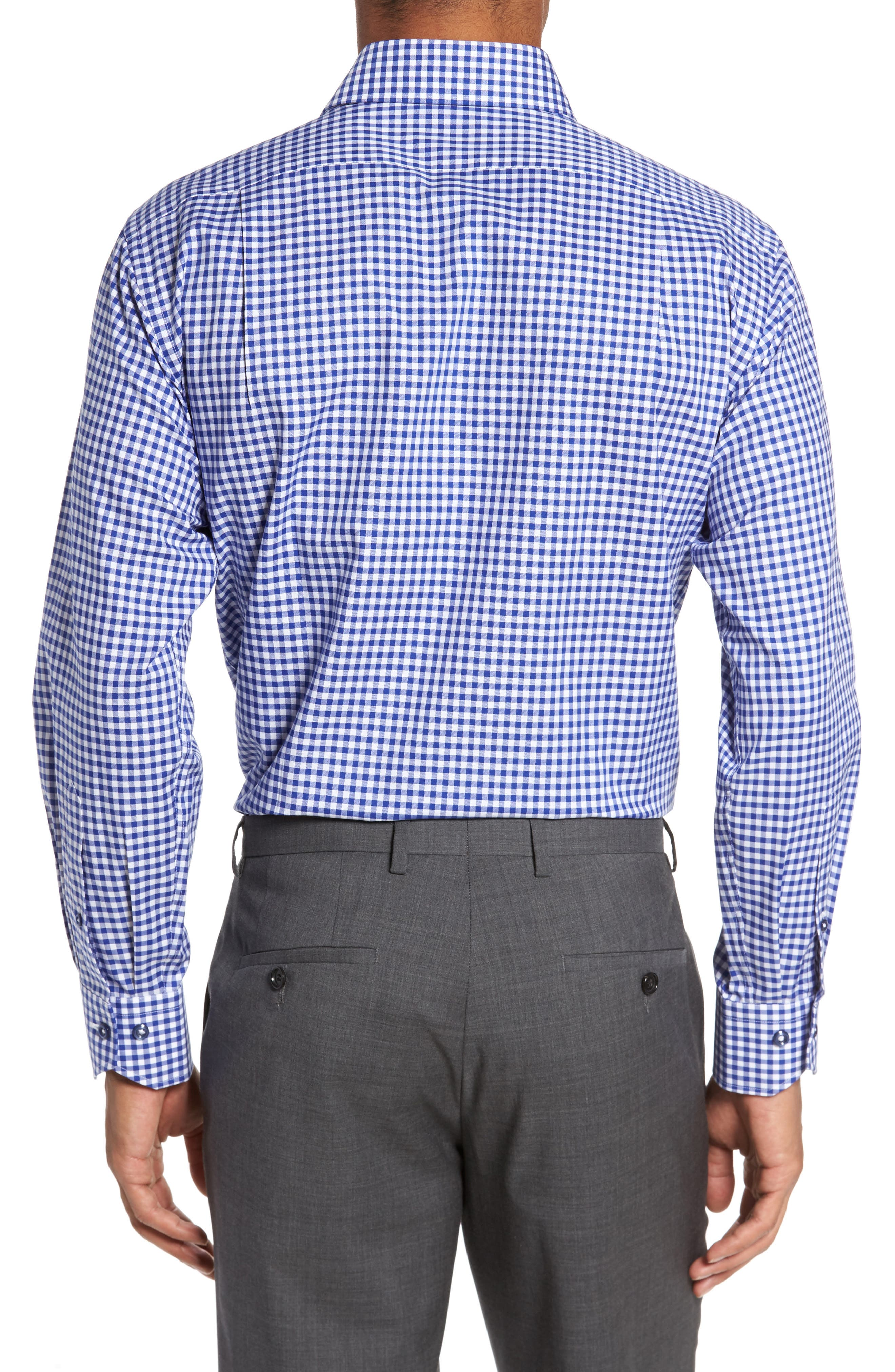 Trim Fit Textured Gingham Dress Shirt,                             Alternate thumbnail 2, color,                             Navy