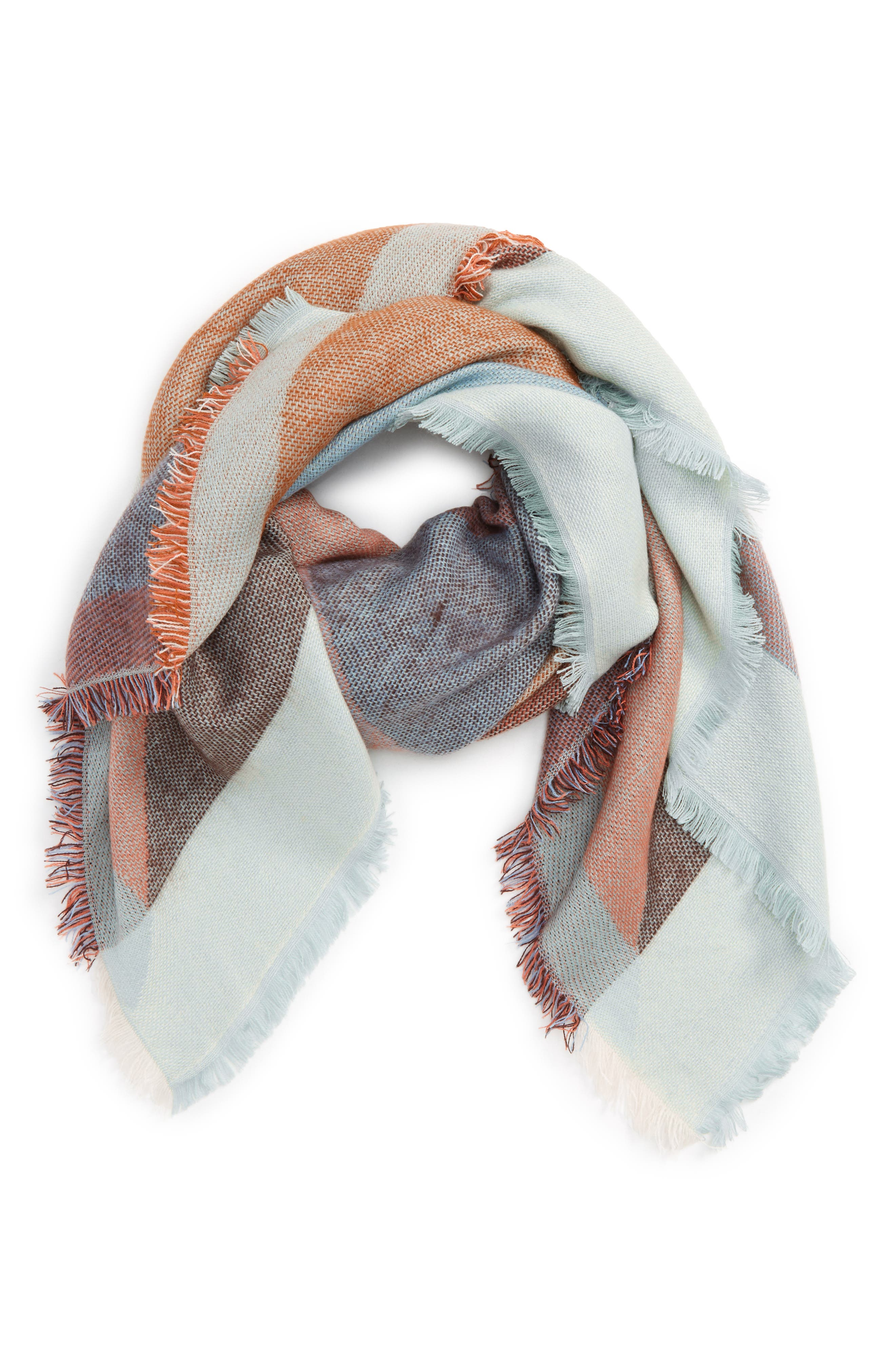 Geo Square Scarf,                             Main thumbnail 1, color,                             Blue