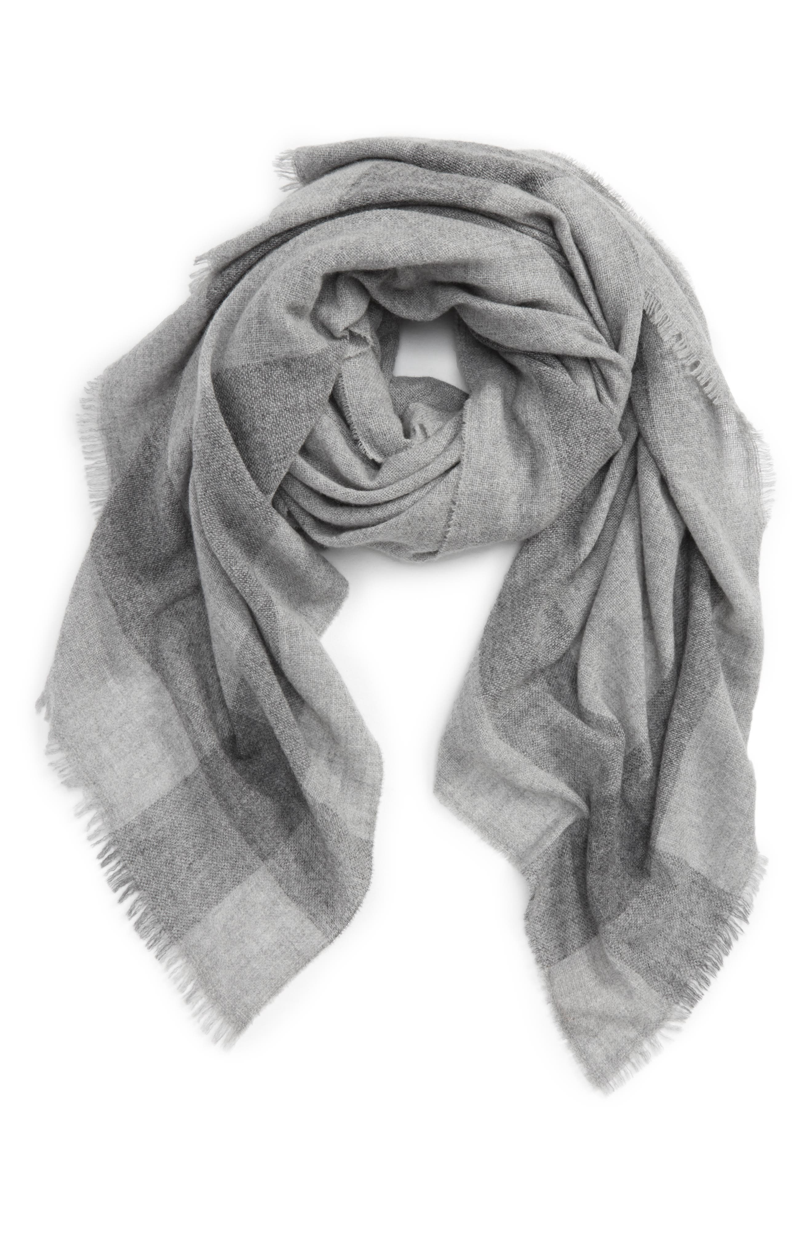 Check Wool & Cashmere Scarf,                         Main,                         color, Windsor Gray