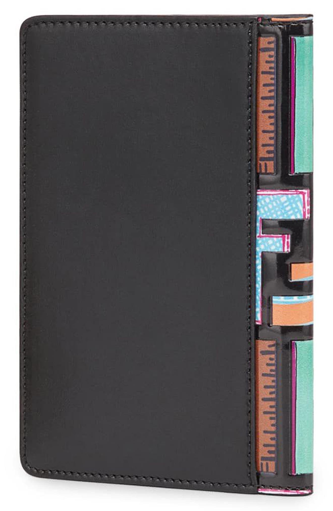 Logo Print Leather Passport Holder,                             Alternate thumbnail 3, color,                             Nero/ Palladio
